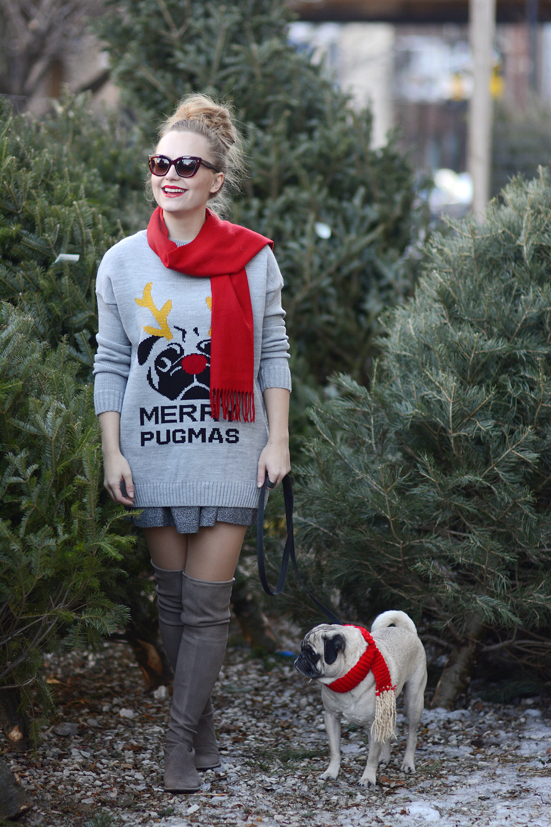 Missguided Merry Pugmas Sweater Stuart Weitzman Lowland Boots 4