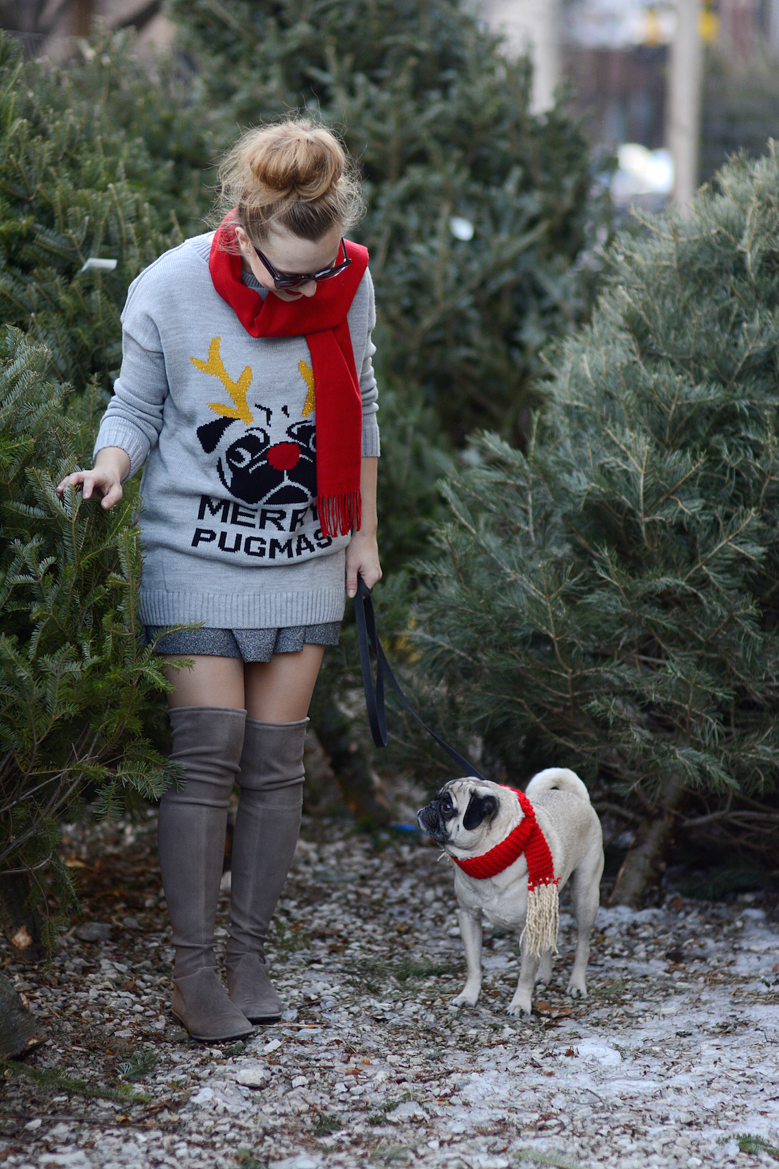 Missguided Merry Pugmas Sweater Stuart Weitzman Lowland Boots 5