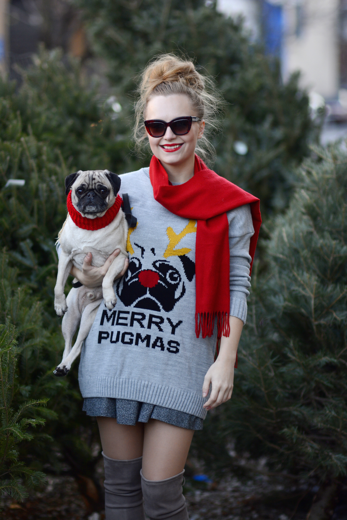 Missguided Merry Pugmas Sweater Stuart Weitzman Lowland Boots 6