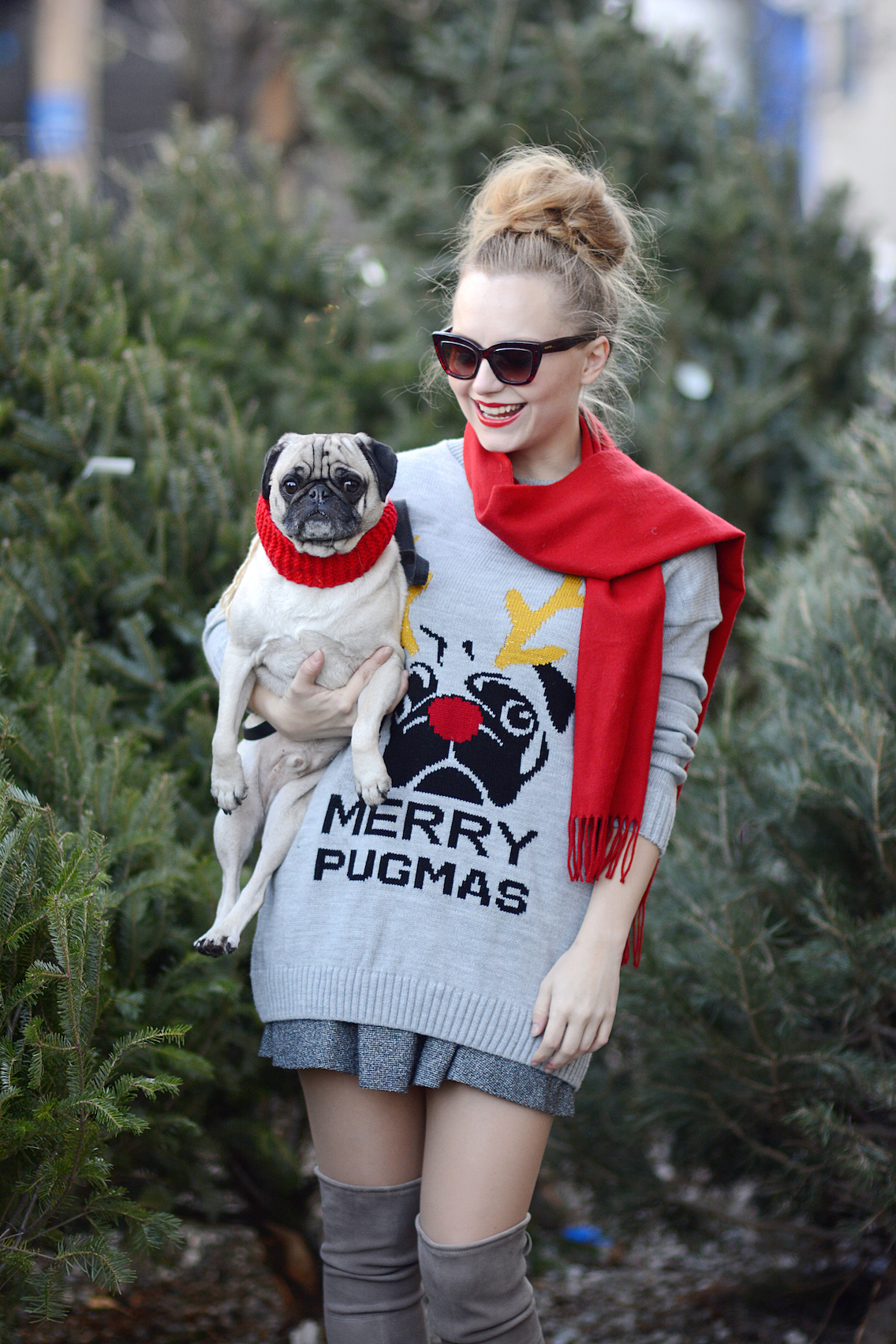 Missguided Merry Pugmas Sweater Stuart Weitzman Lowland Boots 7