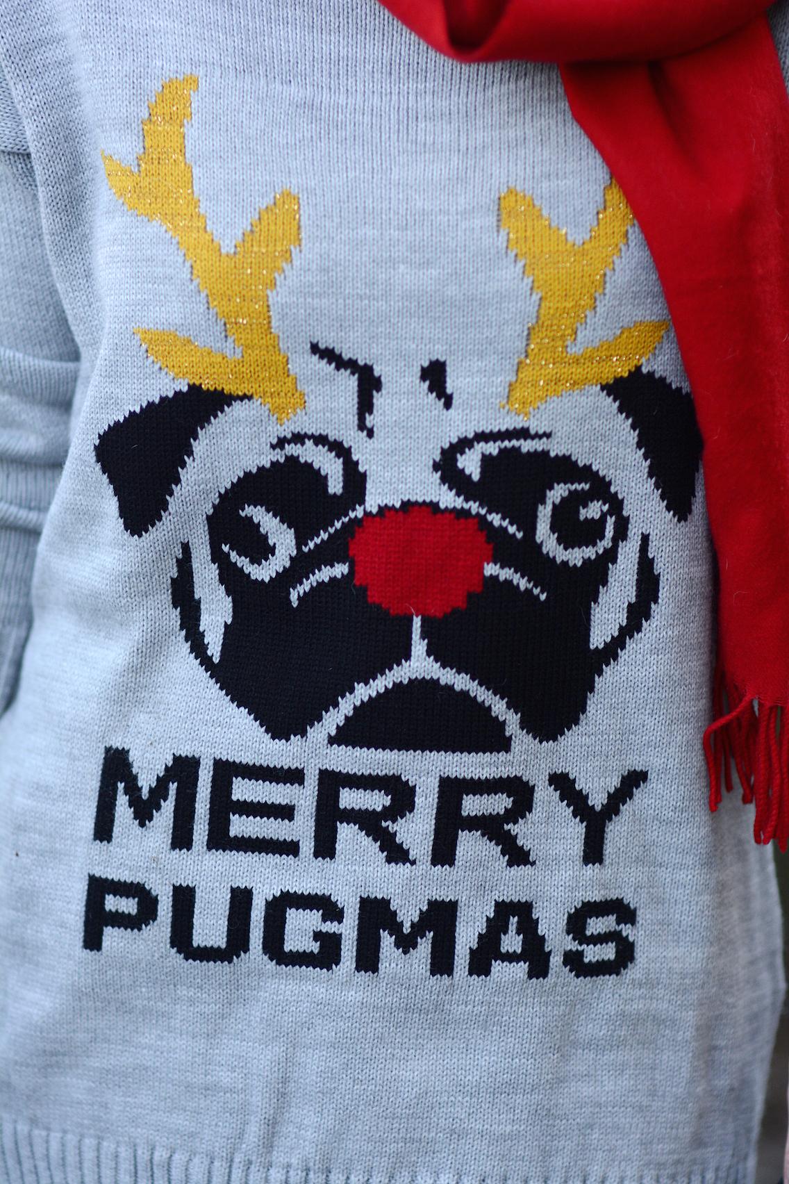 Missguided Merry Pugmas Sweater Stuart Weitzman Lowland Boots 11