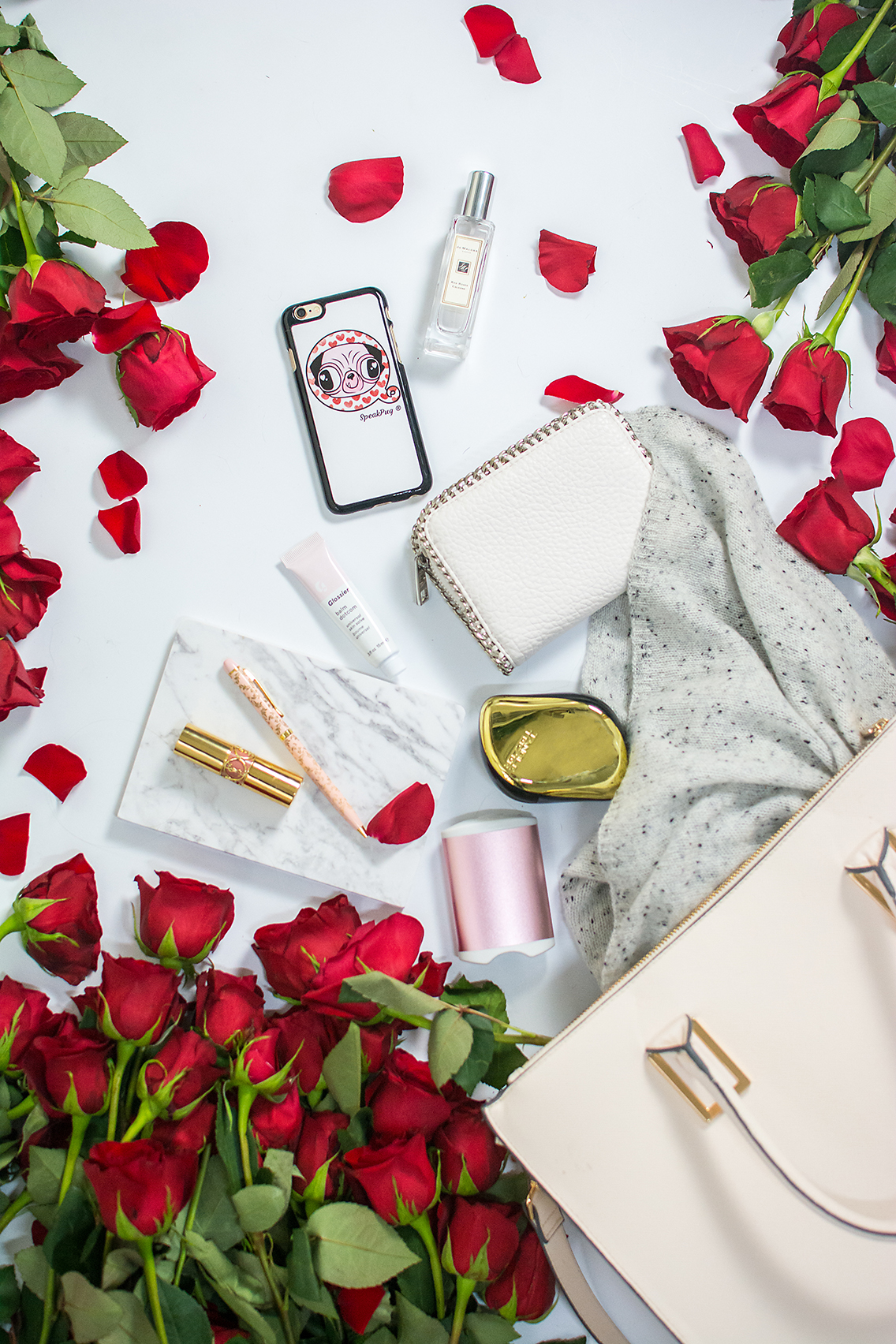 H&M Tote Jo Malone Red Roses Glossier Balm YSL Lips 21