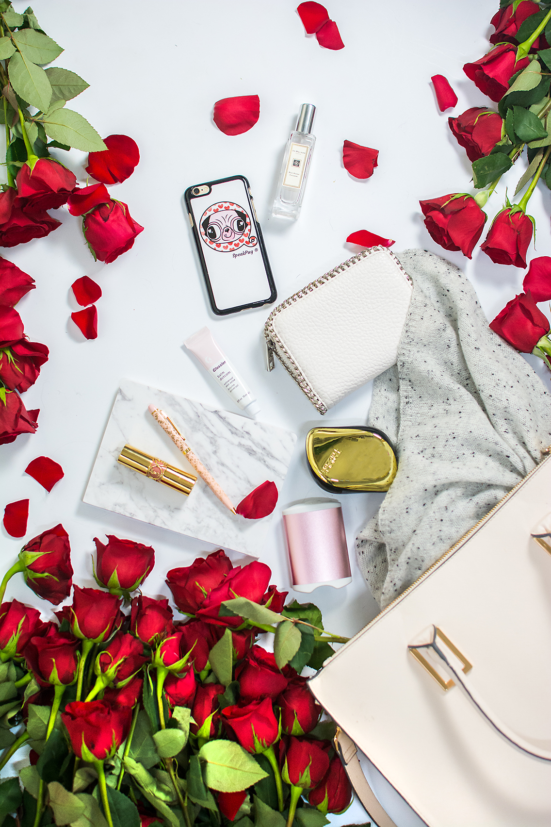 H&M Tote Jo Malone Red Roses Glossier Balm YSL Lips 20