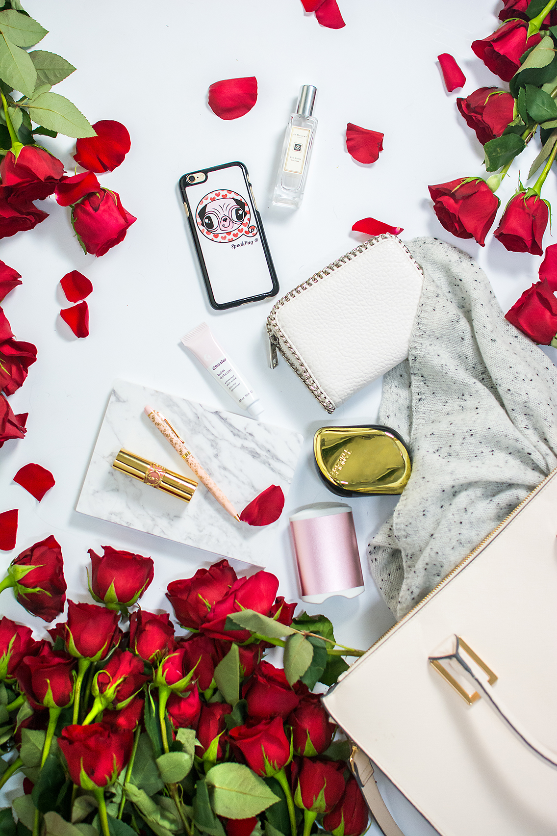 H&M Tote Jo Malone Red Roses Glossier Balm YSL Lips 19