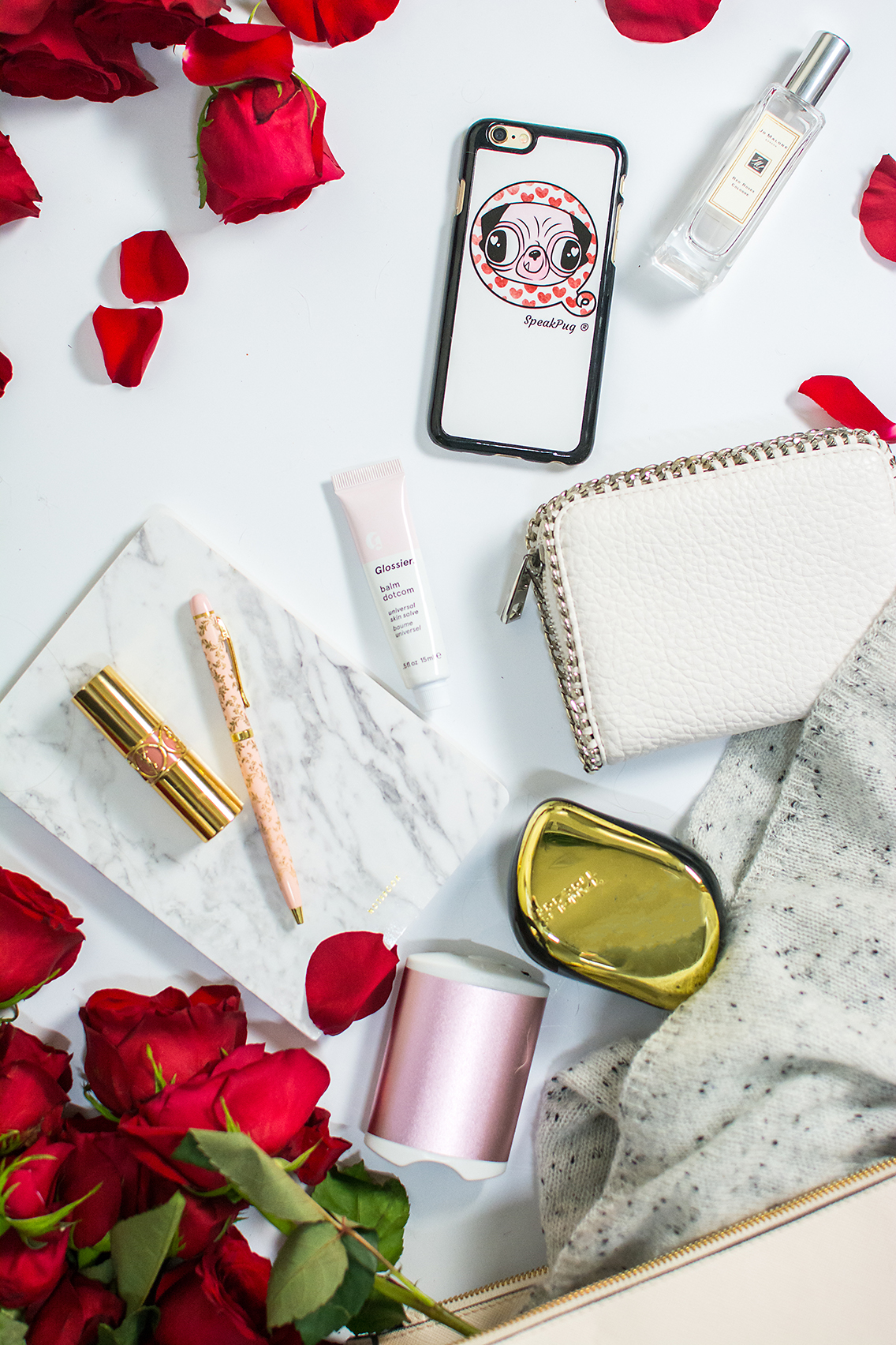 H&M Tote Jo Malone Red Roses Glossier Balm YSL Lips 1