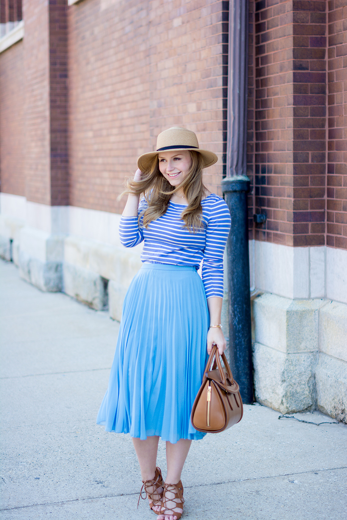 Pleated Skirt Breton Stripe Boater Hat Outfit