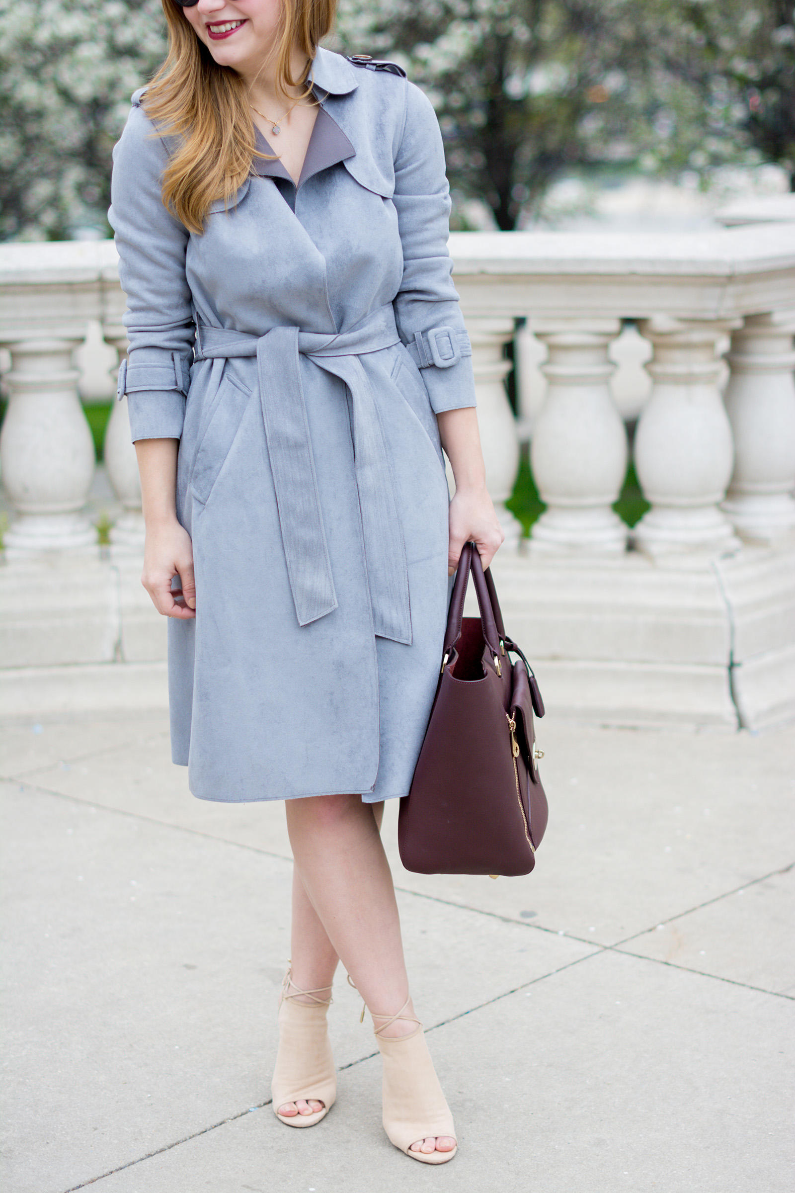 Suede Trench Coat Aquazzura Mayfair