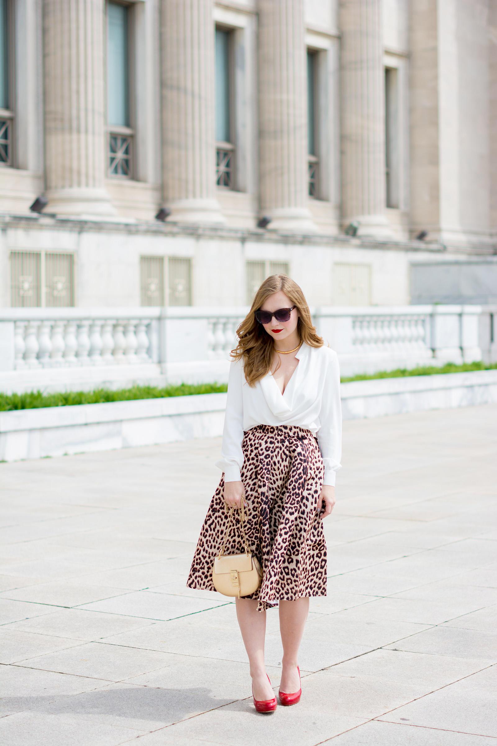 Chloe Drew Choies Animal Print Midi Skirt