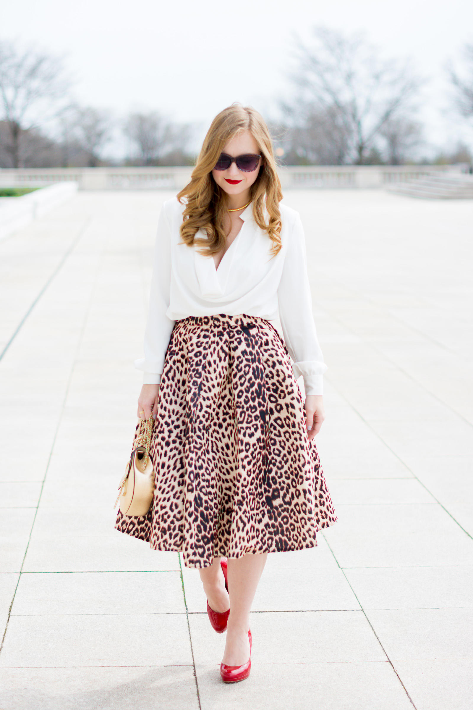 Chloe Drew Choies Animal Print Midi Skirt