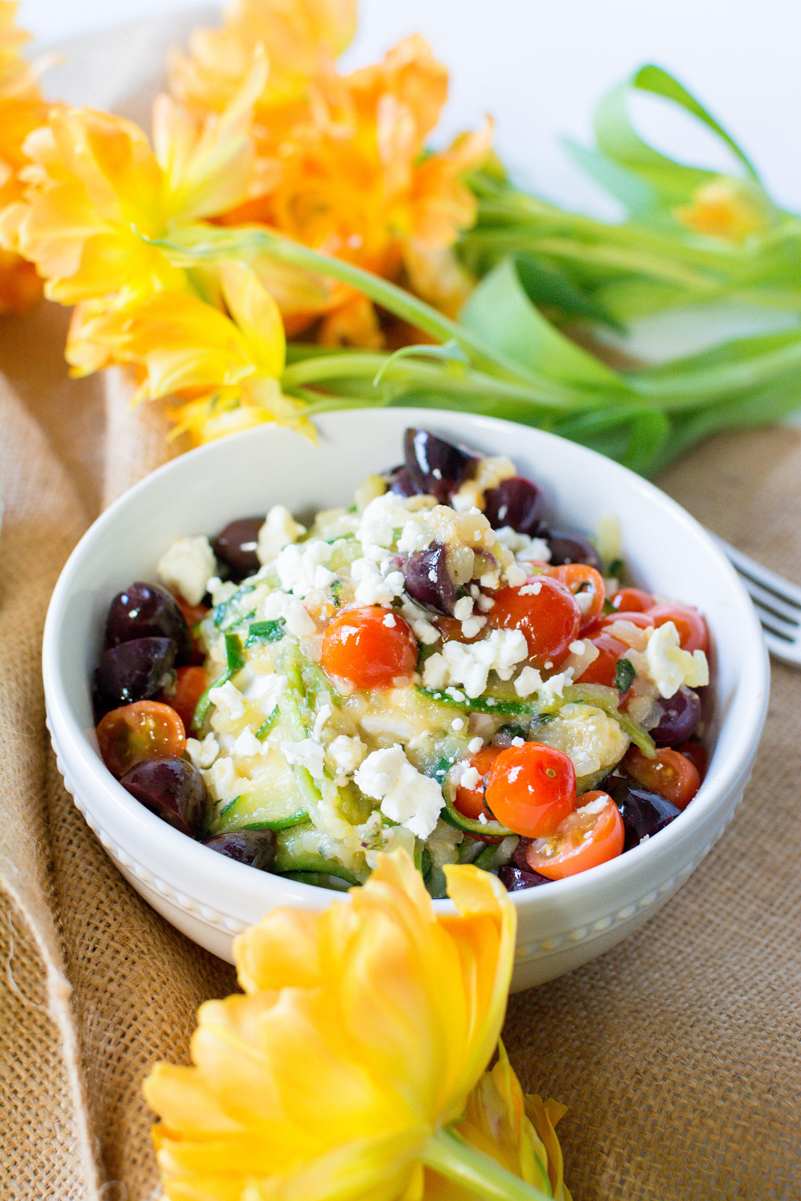 Low-Carb Tomato Olive Feta Zoodles Recipe