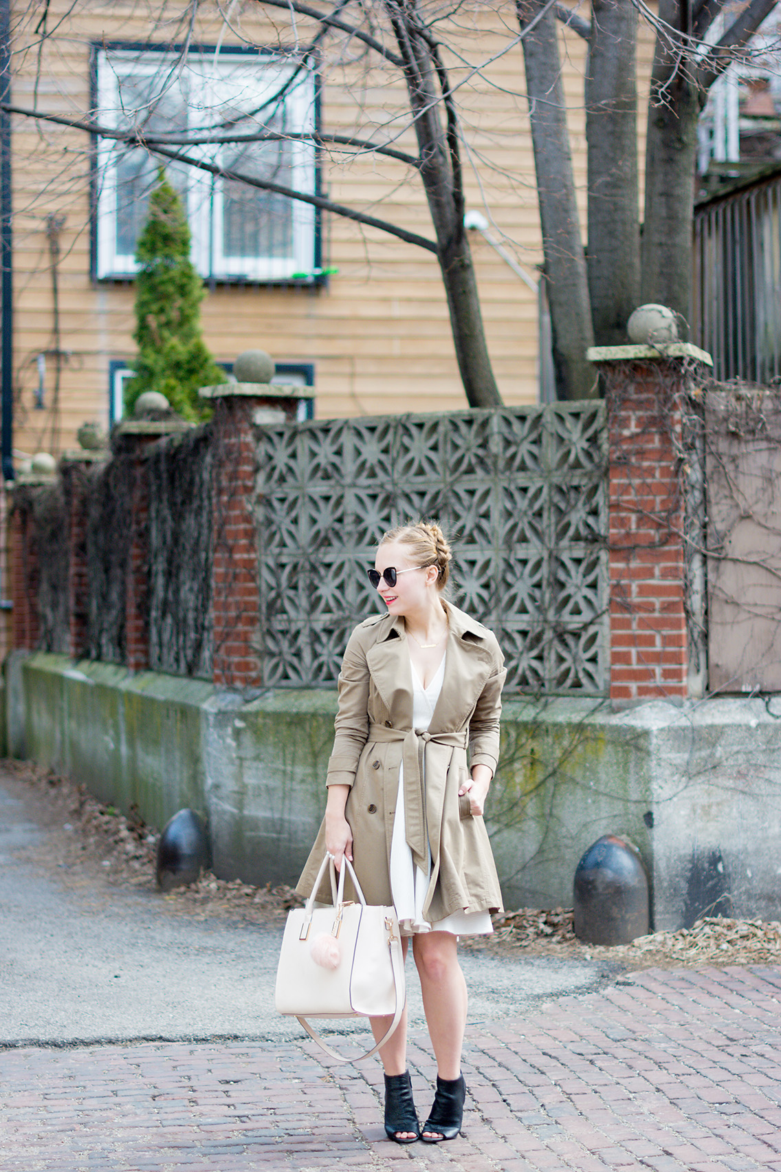 Pleated Trench Coat Blush Khaki Spring Style Braid