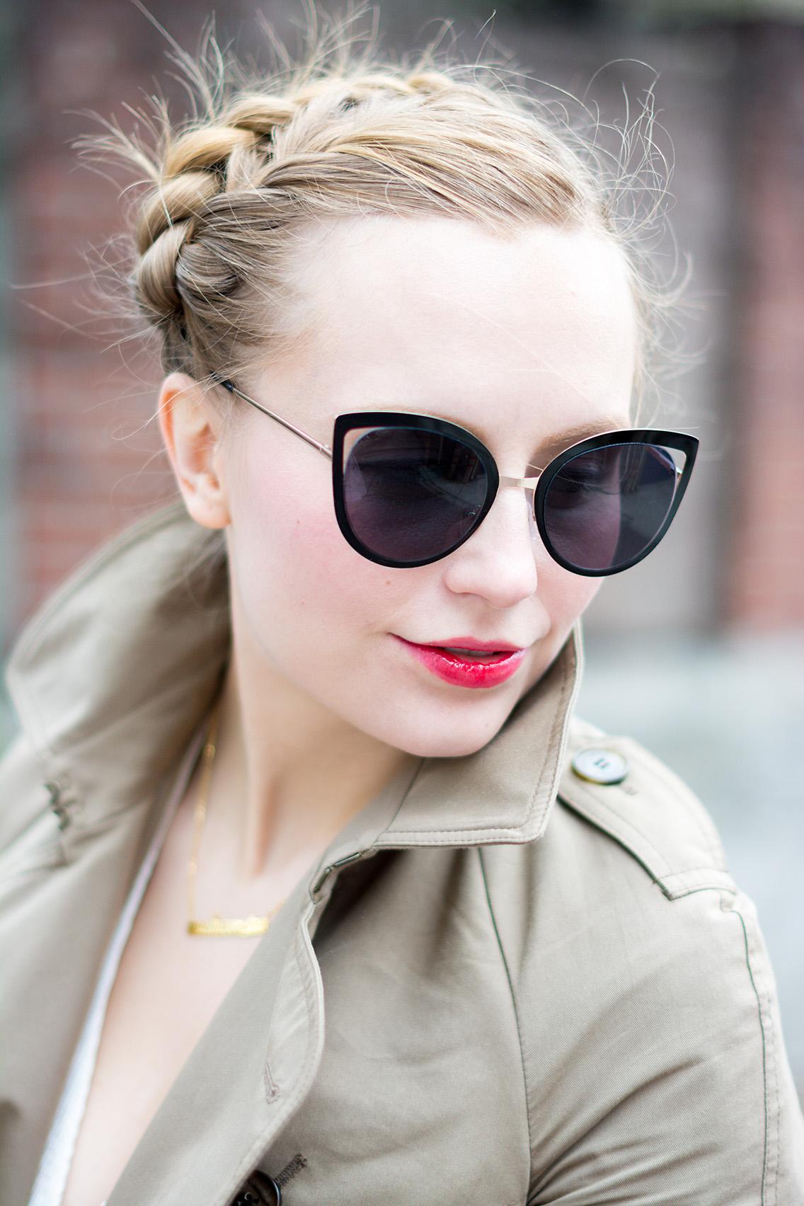 Pleated Trench Coat Blush Khaki Spring Style Braid
