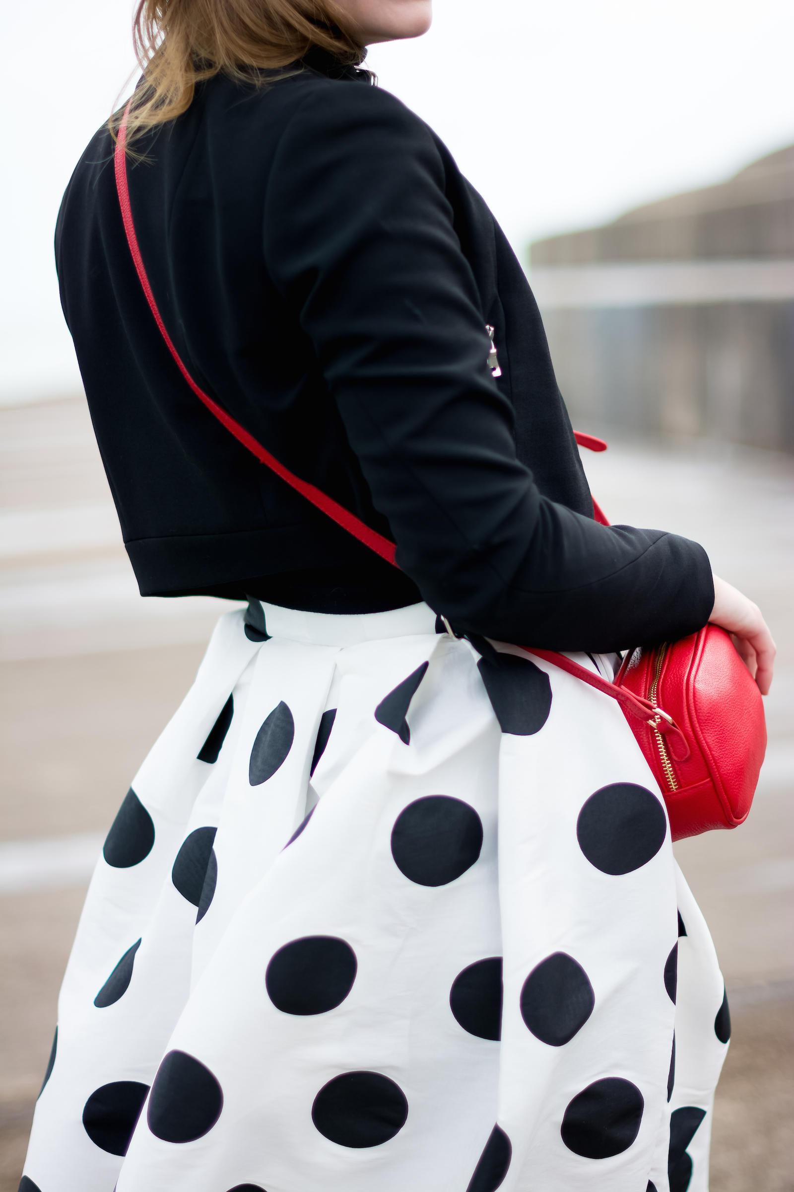 Zara Moto Jacket T&J Designs Polka Dot Midi Skirt