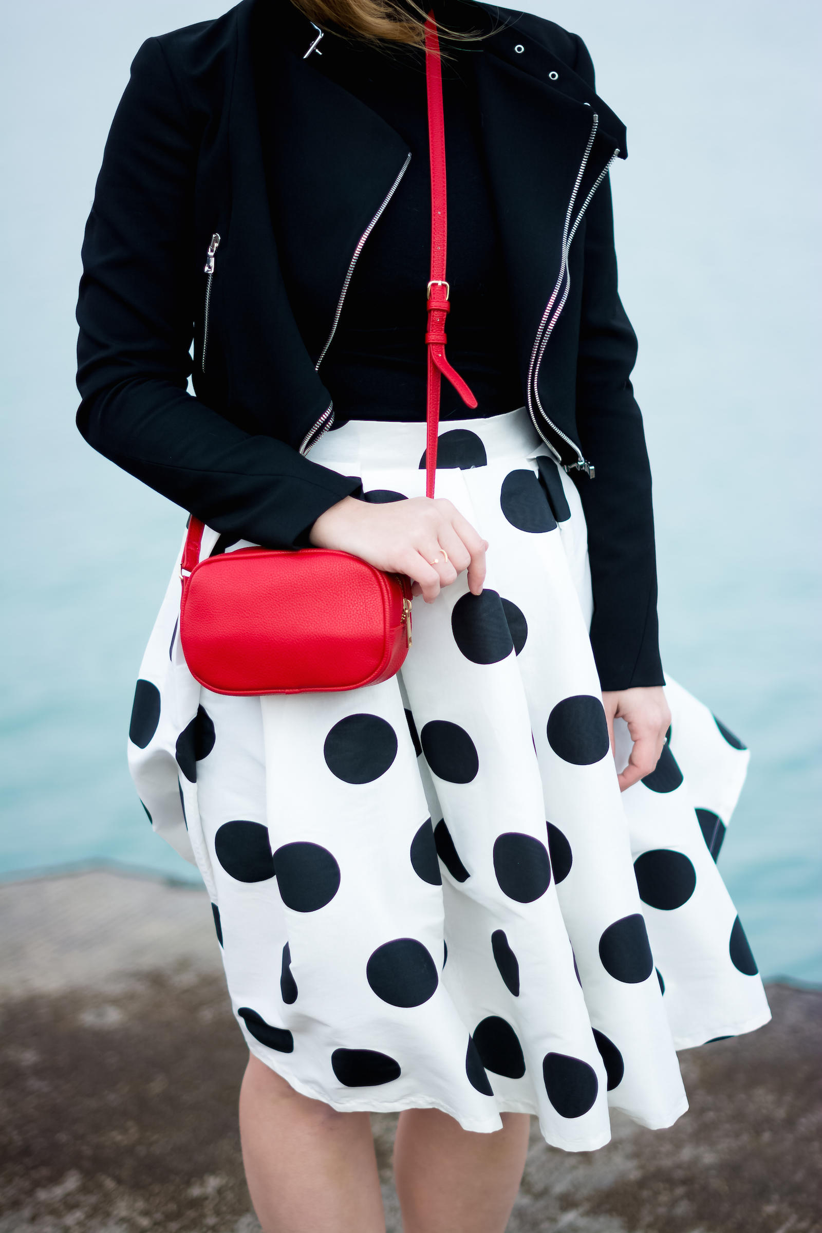 Zara Moto Jacket T&J Designs Polka Dot Midi Skirt