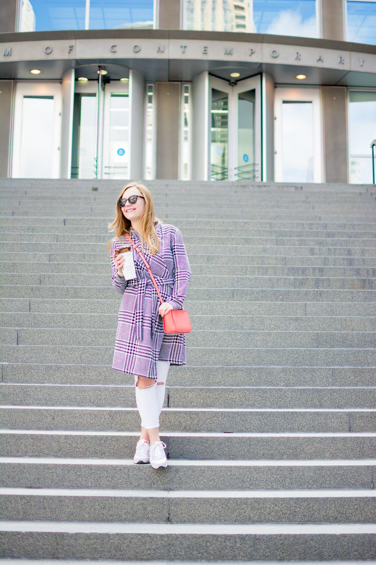 Houndstooth Pink Stans Donuts Spring Outfit