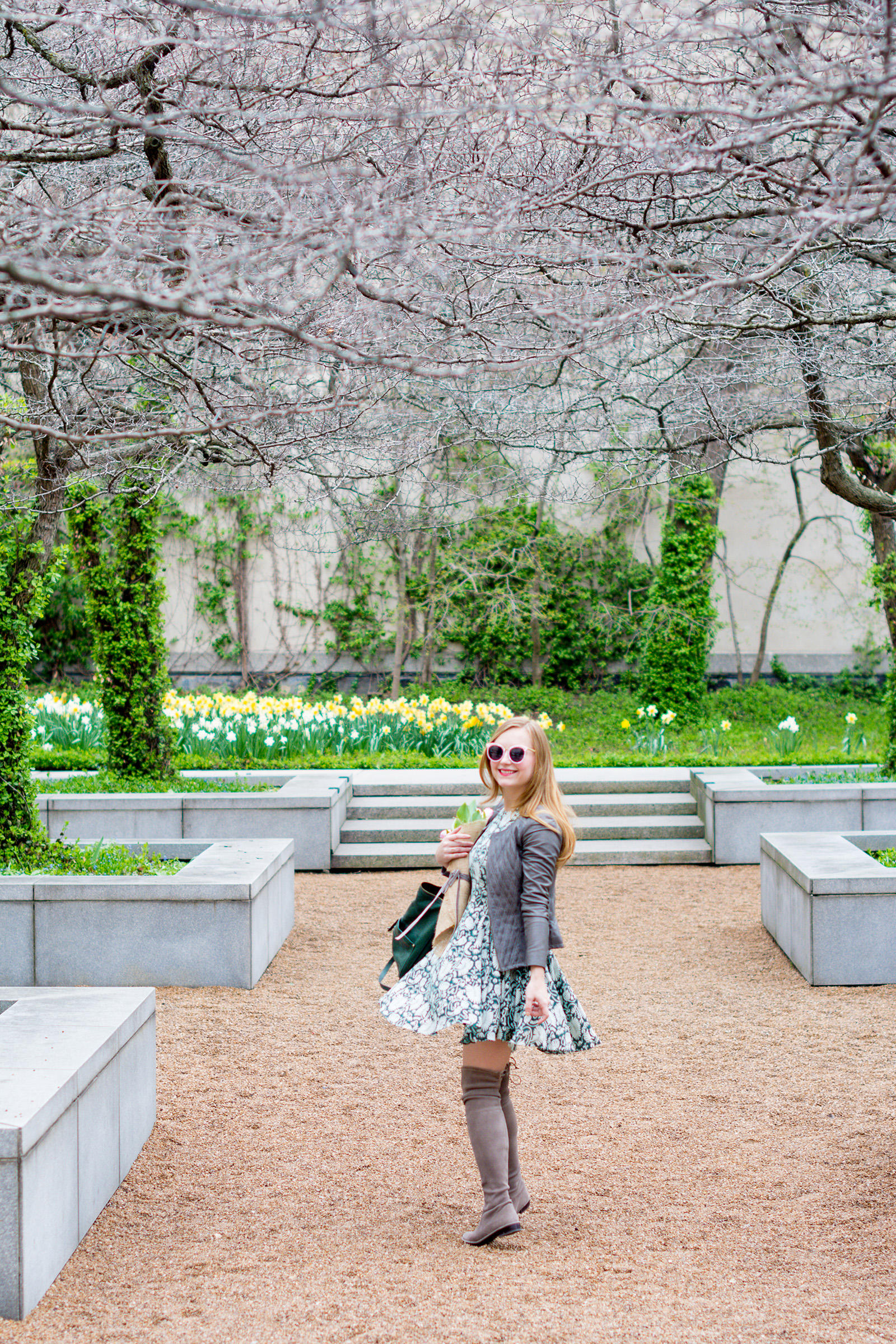 Green Gray Pink Spring Outfit with Tulips