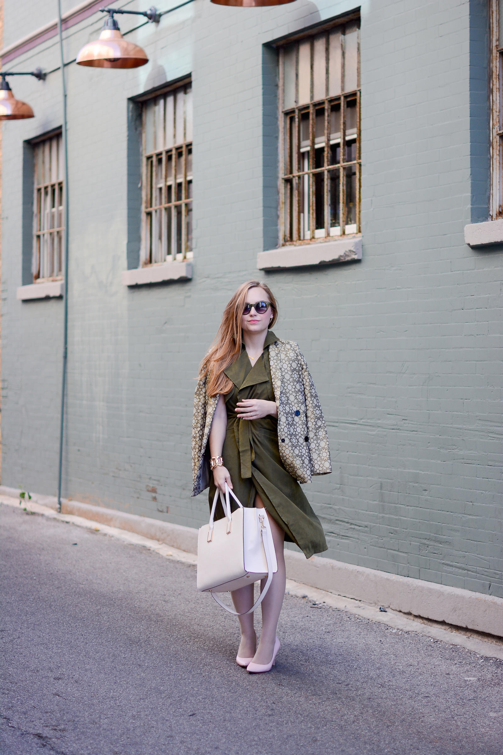 Green Brocade Blazer Trench Vest Dress Pink Outfit