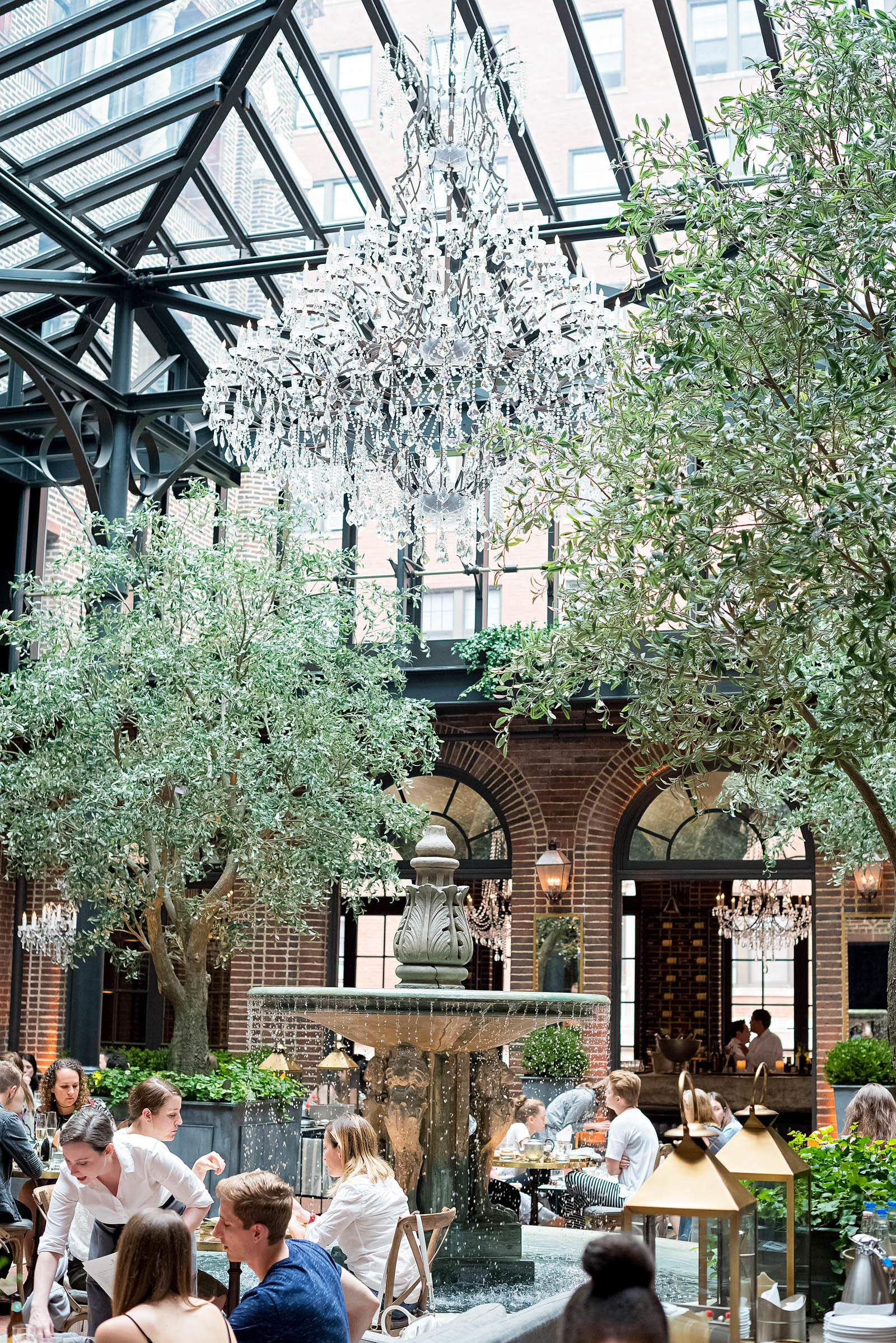 Three Arts Cafe Chicago Restoration Hardware Fountain