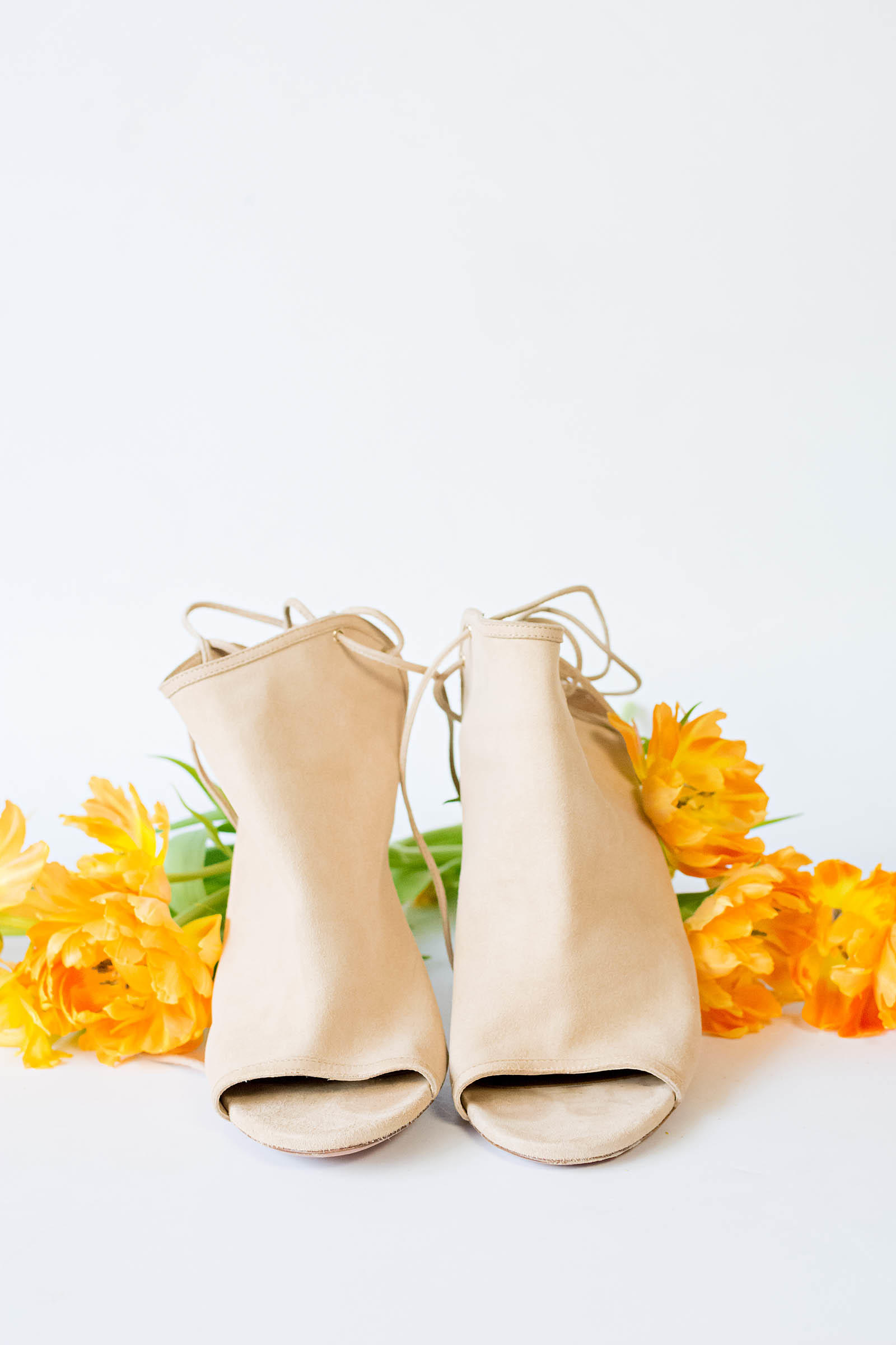 Aquazzura Mayfair Booties in Nude Suede