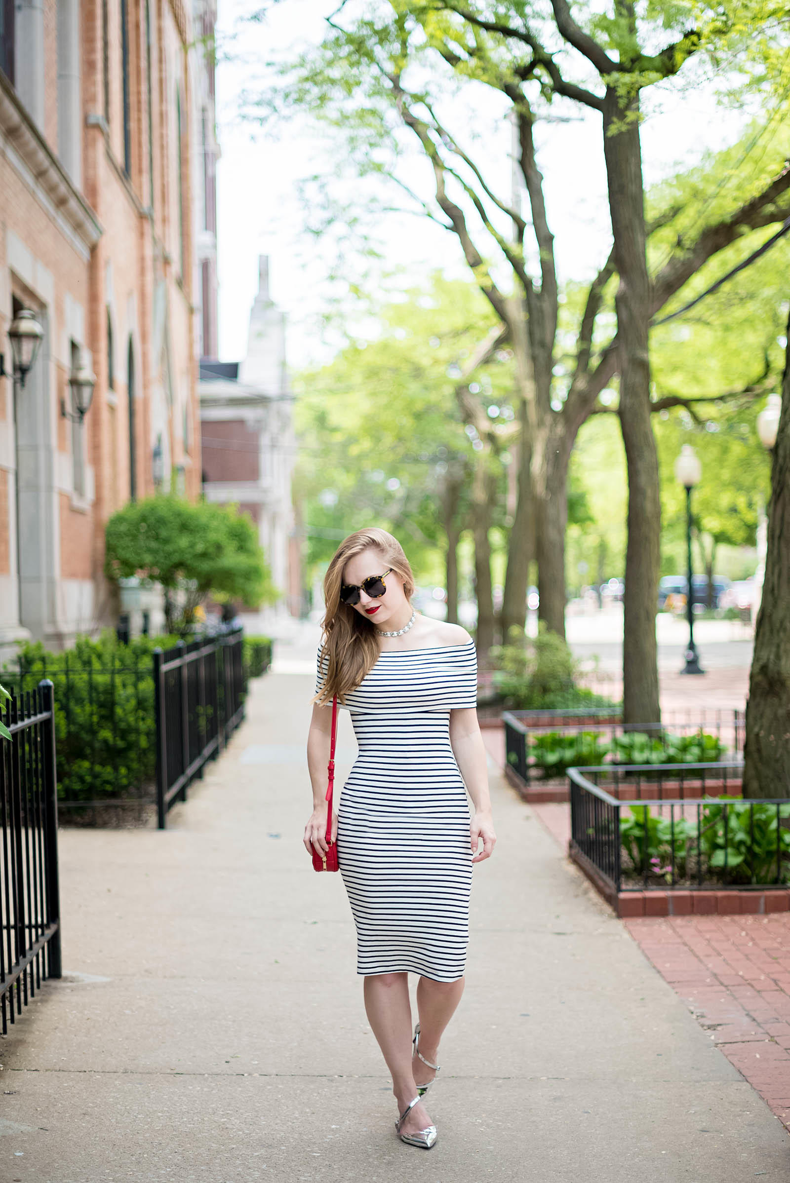 Off the Shoulder Striped MIdi Dress Summer