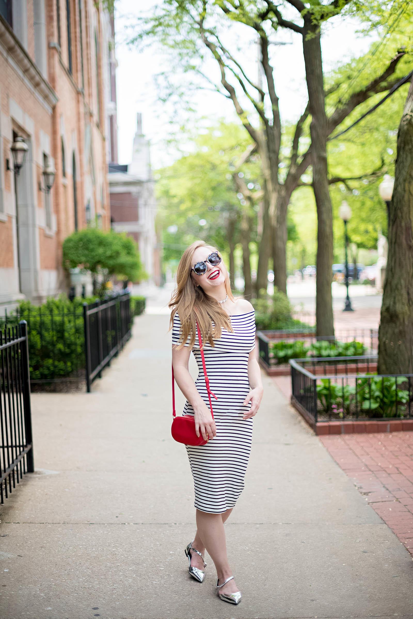 Off the Shoulder Striped MIdi Dress Summer