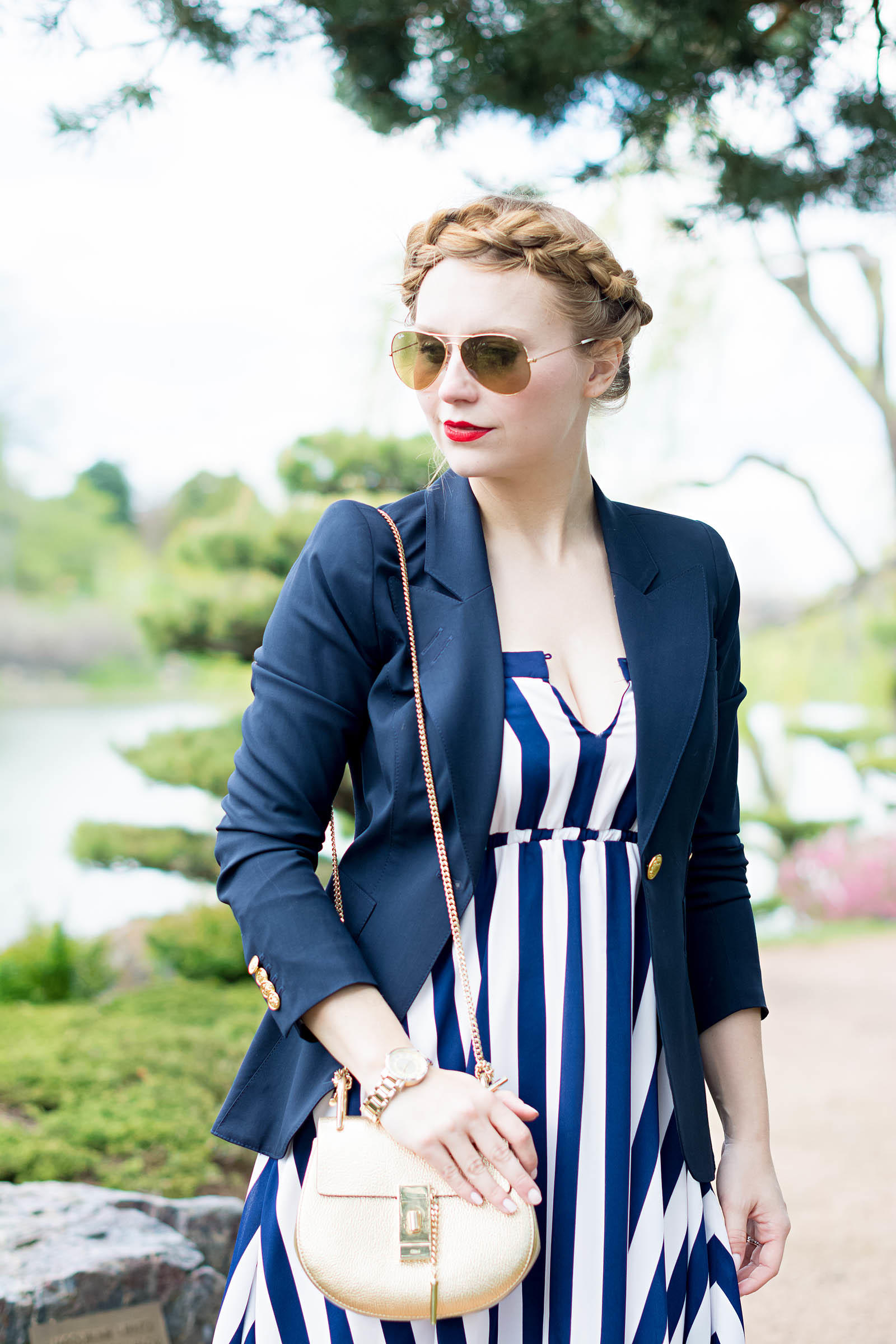 Chloe Drew Smythe Blazer Striped Summer Dress Look
