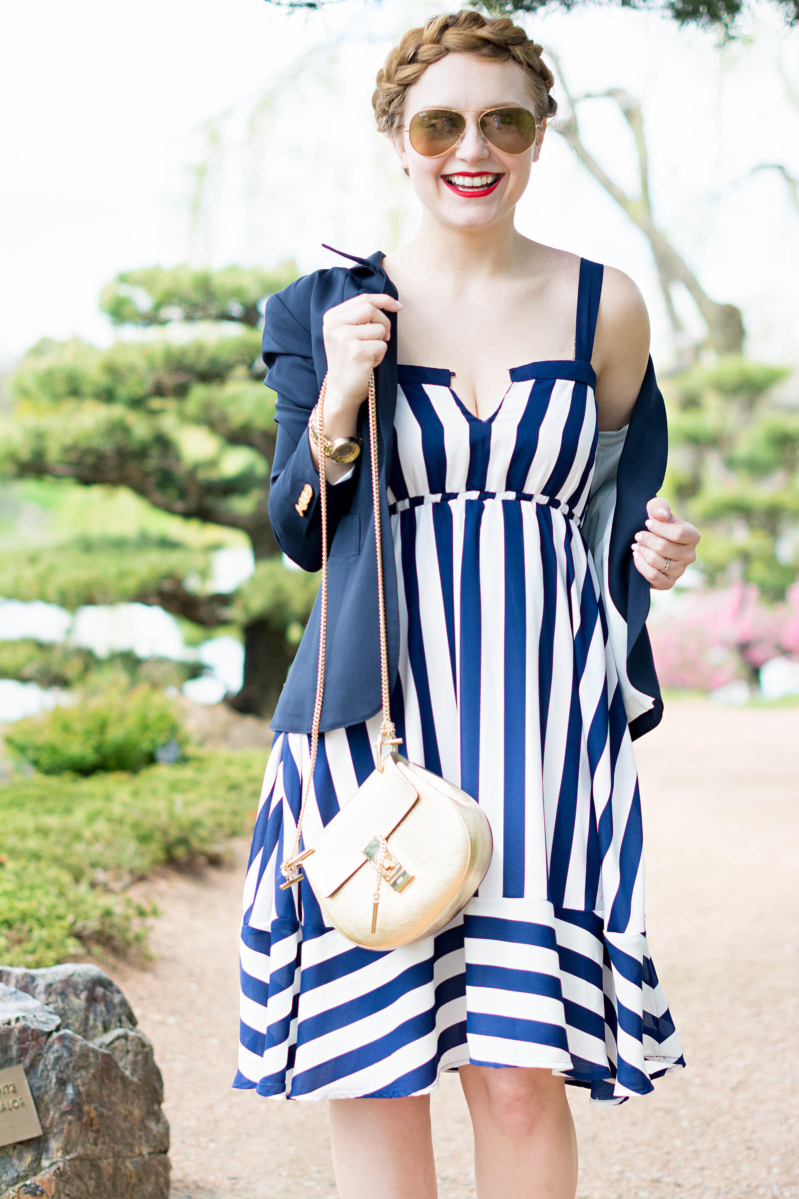 Chloe Drew Smythe Blazer Striped Summer Dress Look