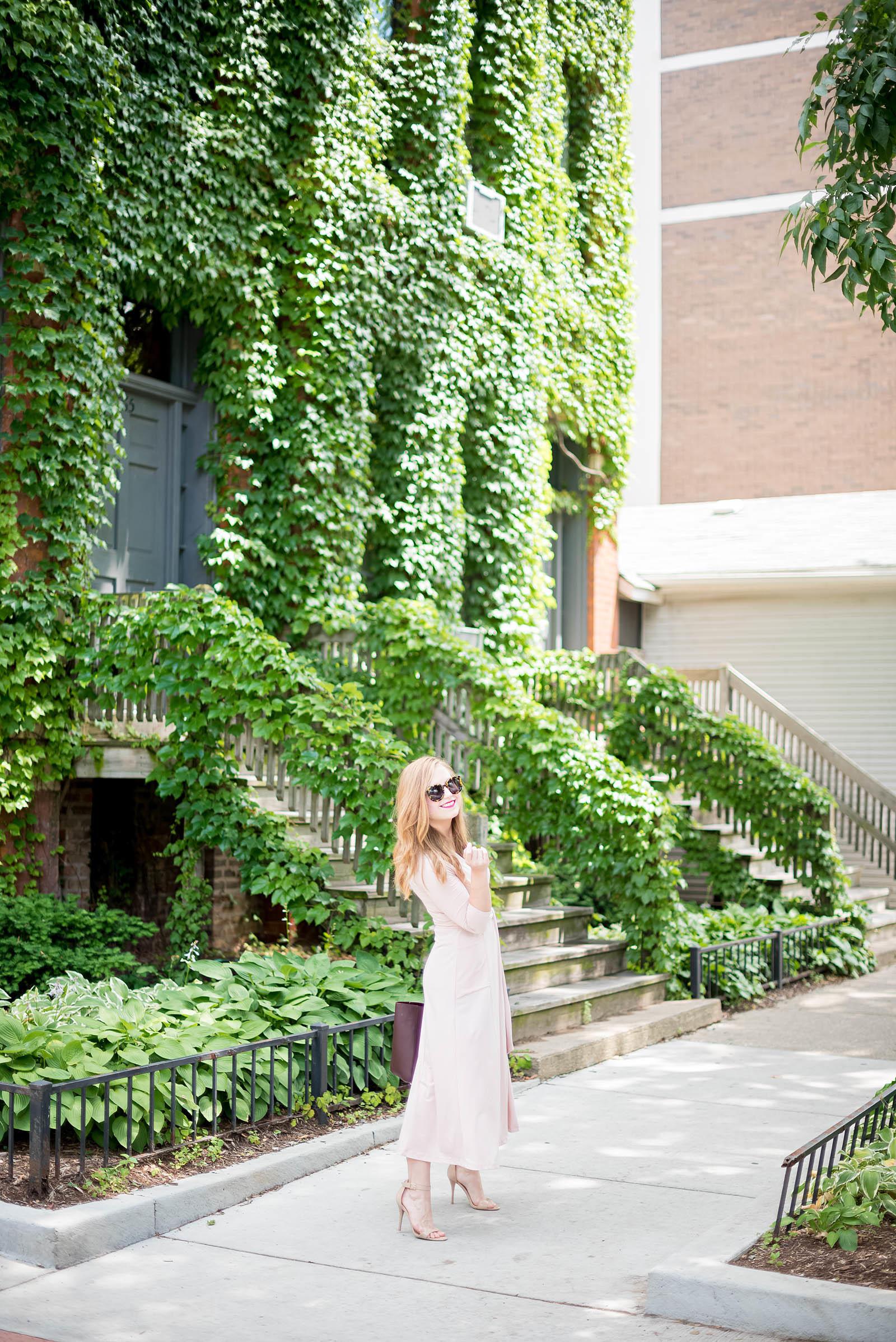 Blush Oxblood Midi Dress Outfit Mulberry Asos Karen Walker