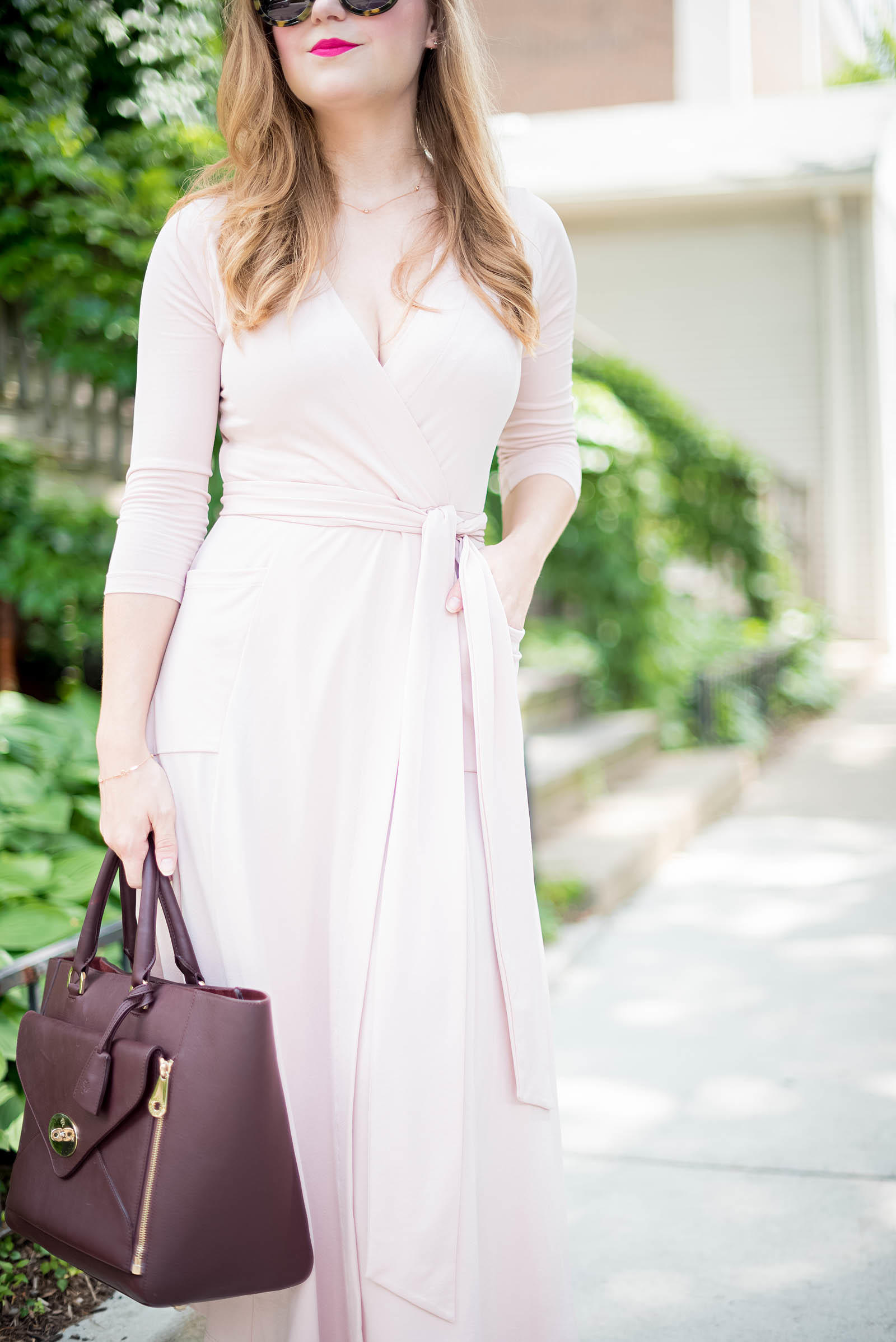 Blush Oxblood Midi Dress Outfit Mulberry Asos Karen Walker