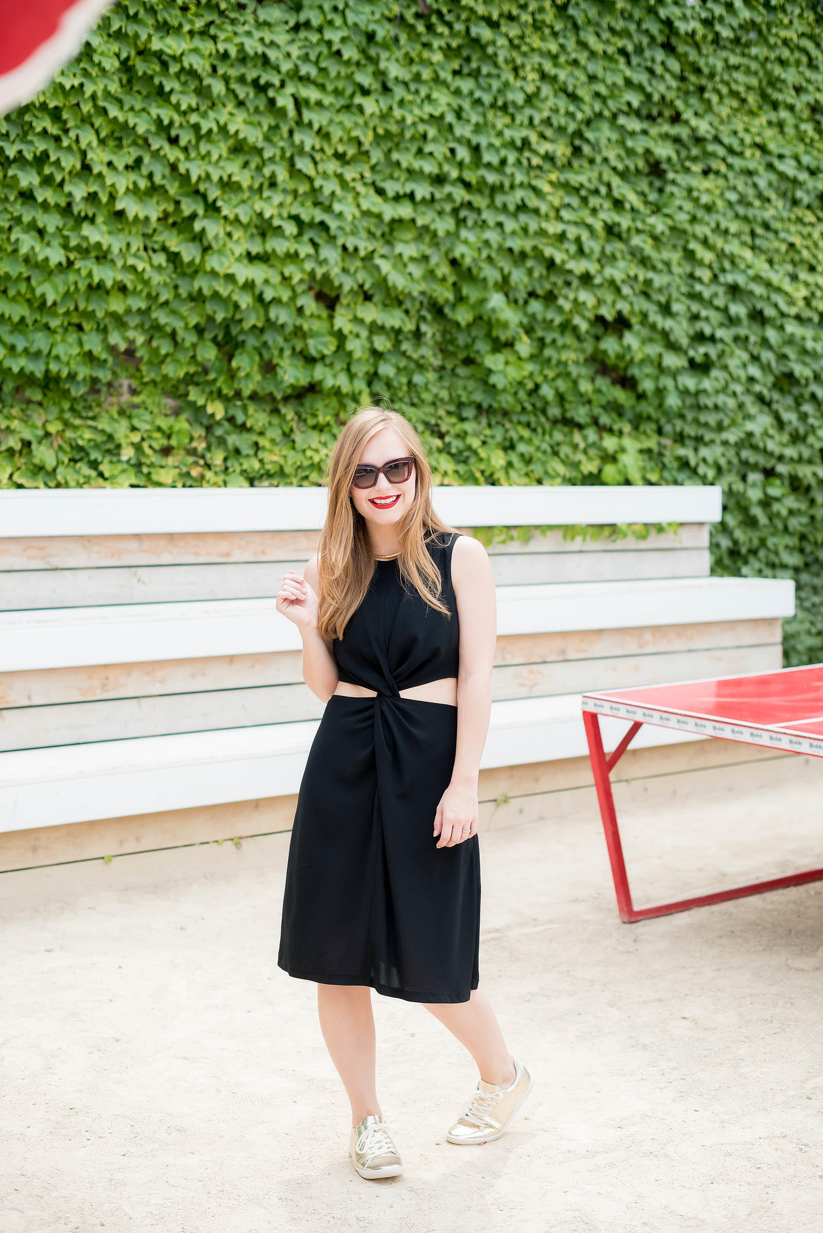 Chic Chicago Summer Outfit Black and Gold Chloe Zara