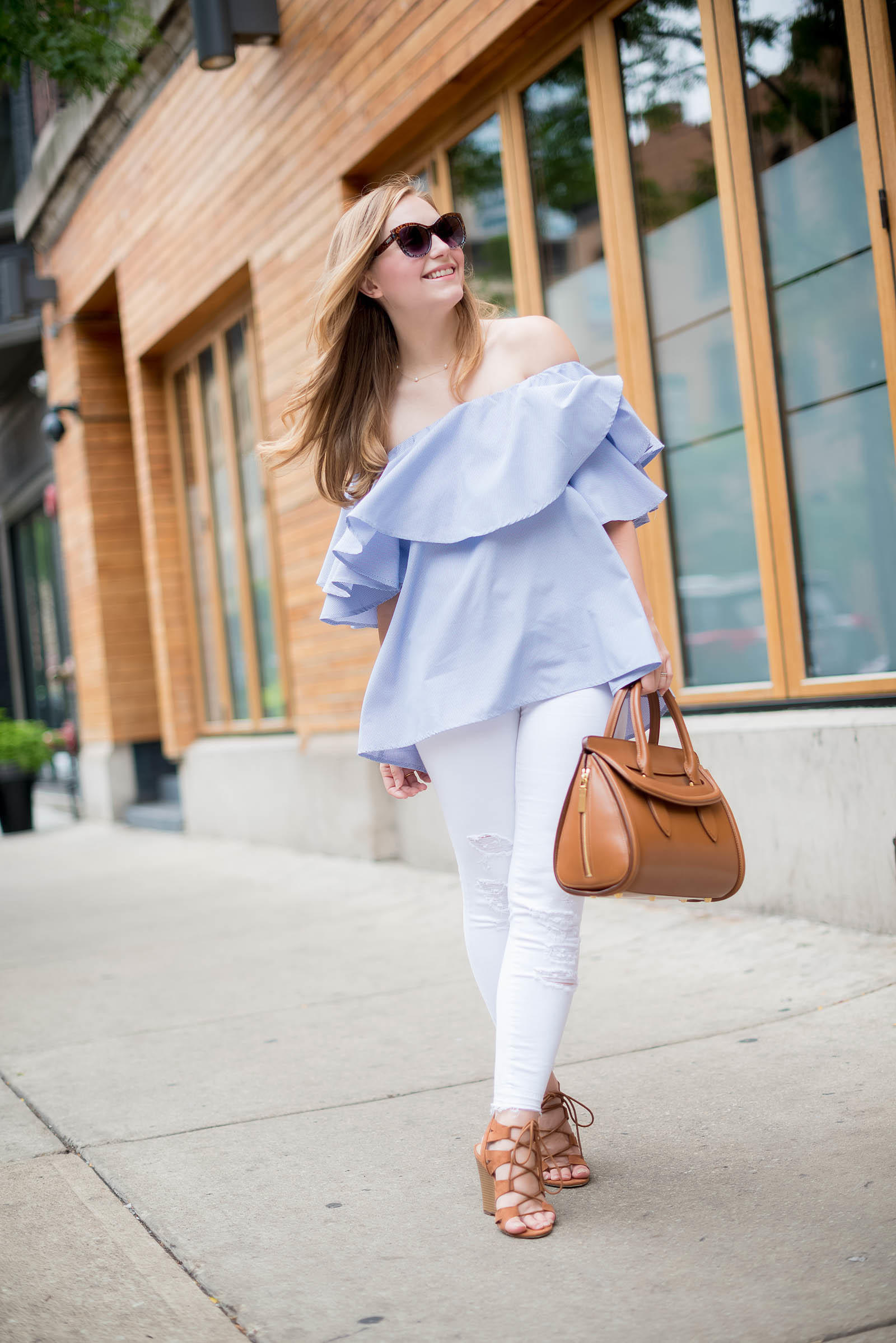 Ruffle Off the Shoulder Top White Jeans