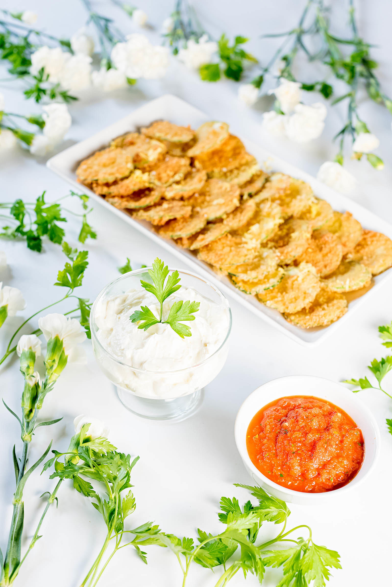 Zucchini Chips with Whipped Feta Dip & Roasted Red Pepper ...