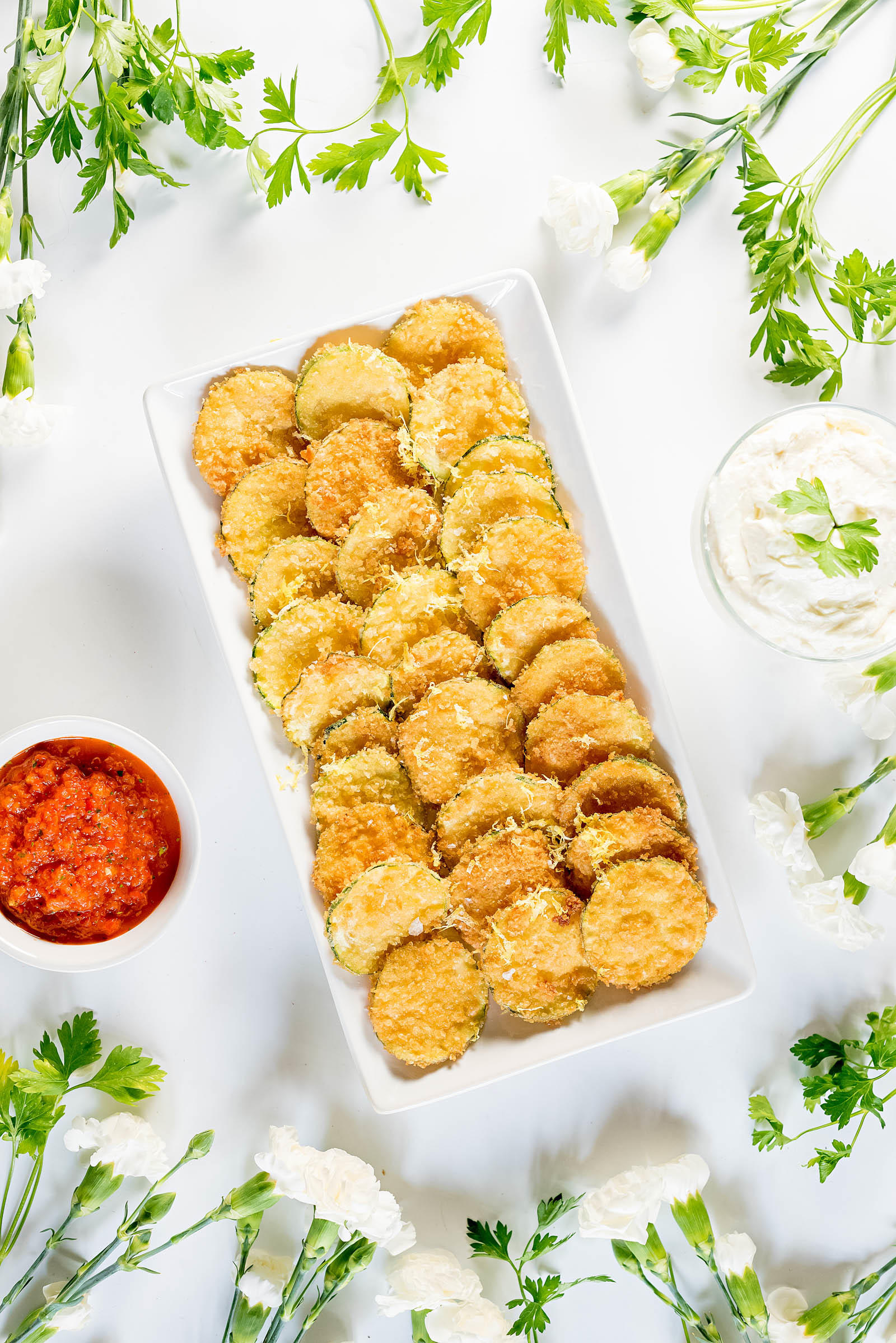Fried Zucchini Chip Recipe Roasted Red Pepper Relish