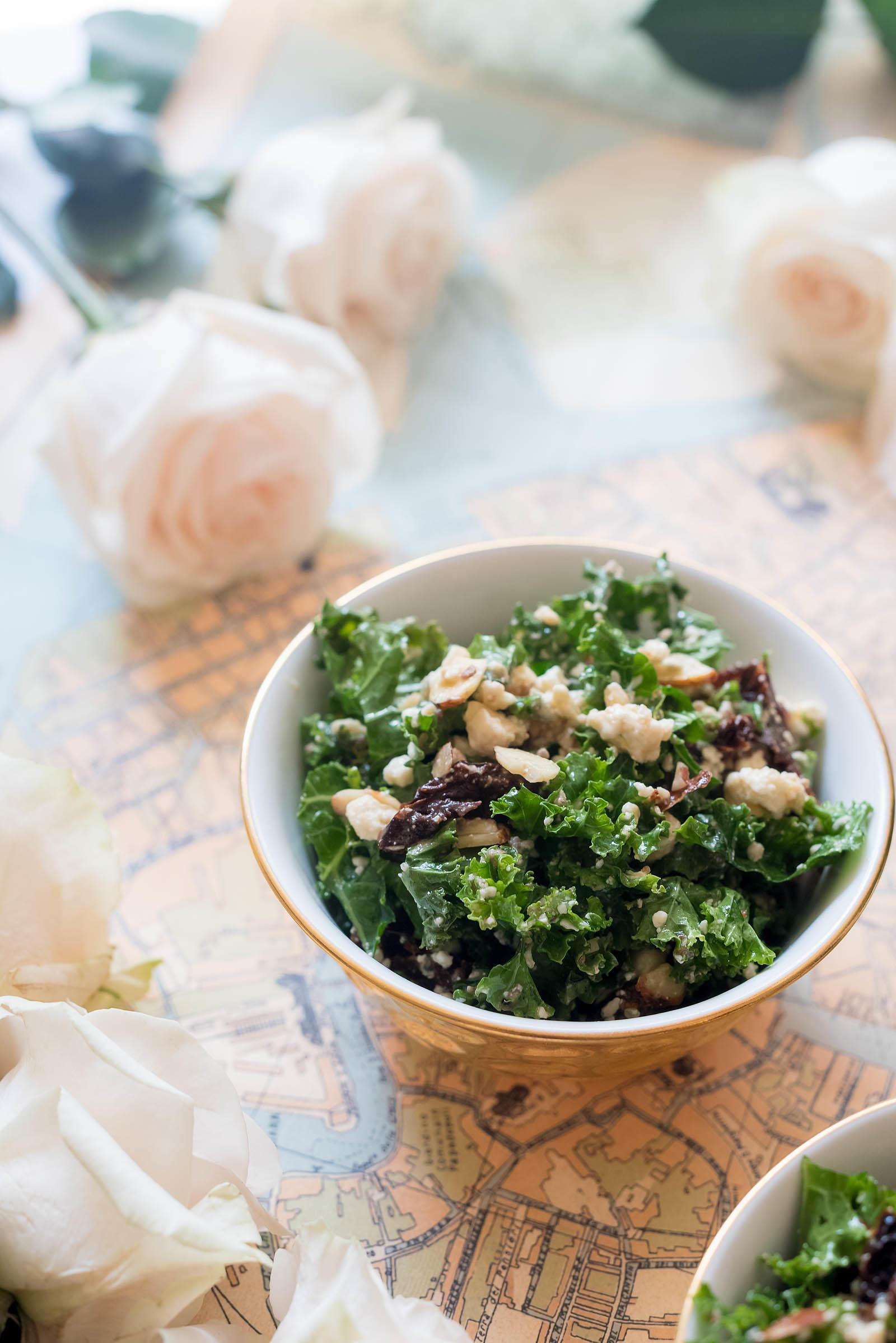 Autumn Marinated Gorgonzola Tomato Kale Salad Recipe