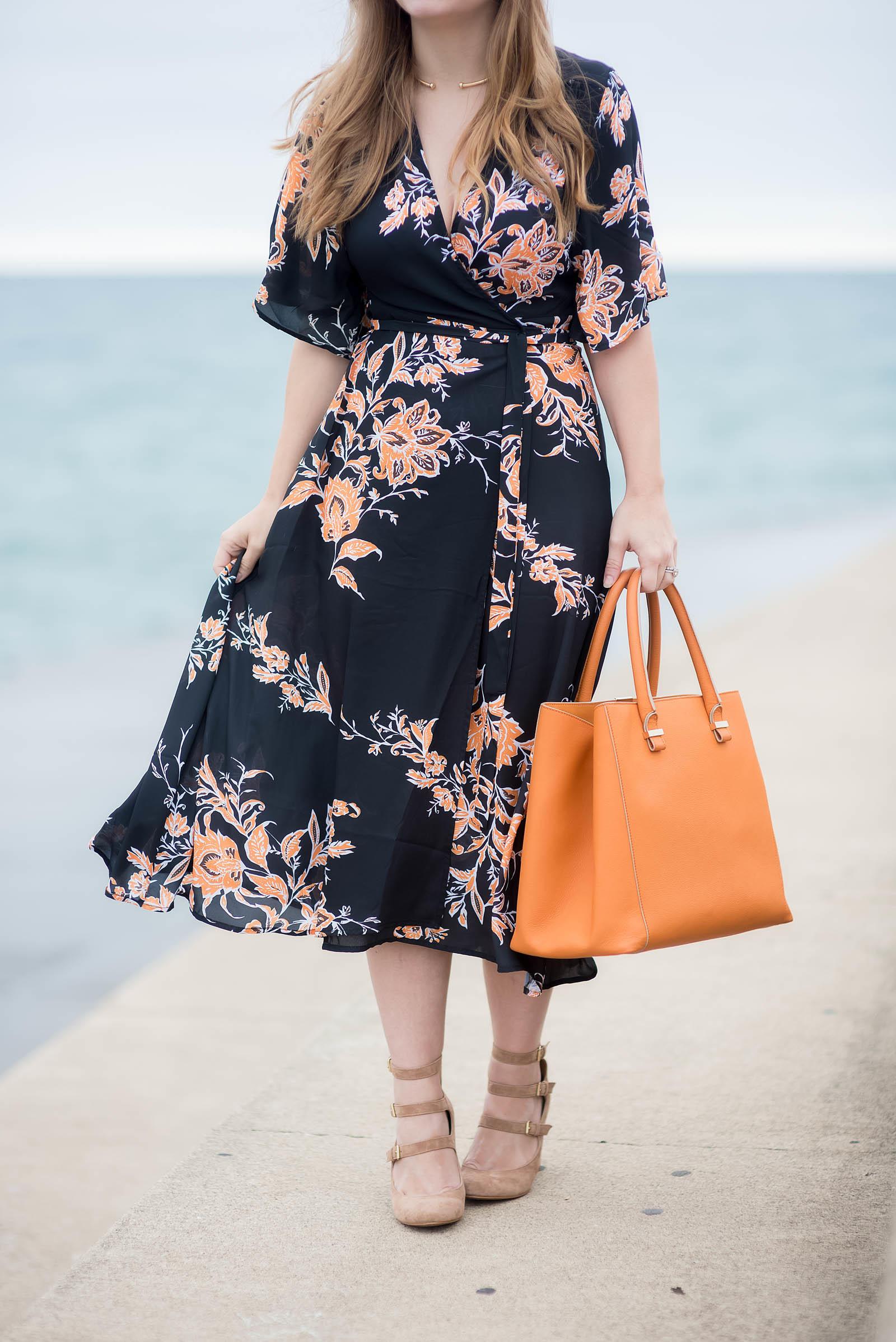 Orange Black Floral Kimono Dress Outfit