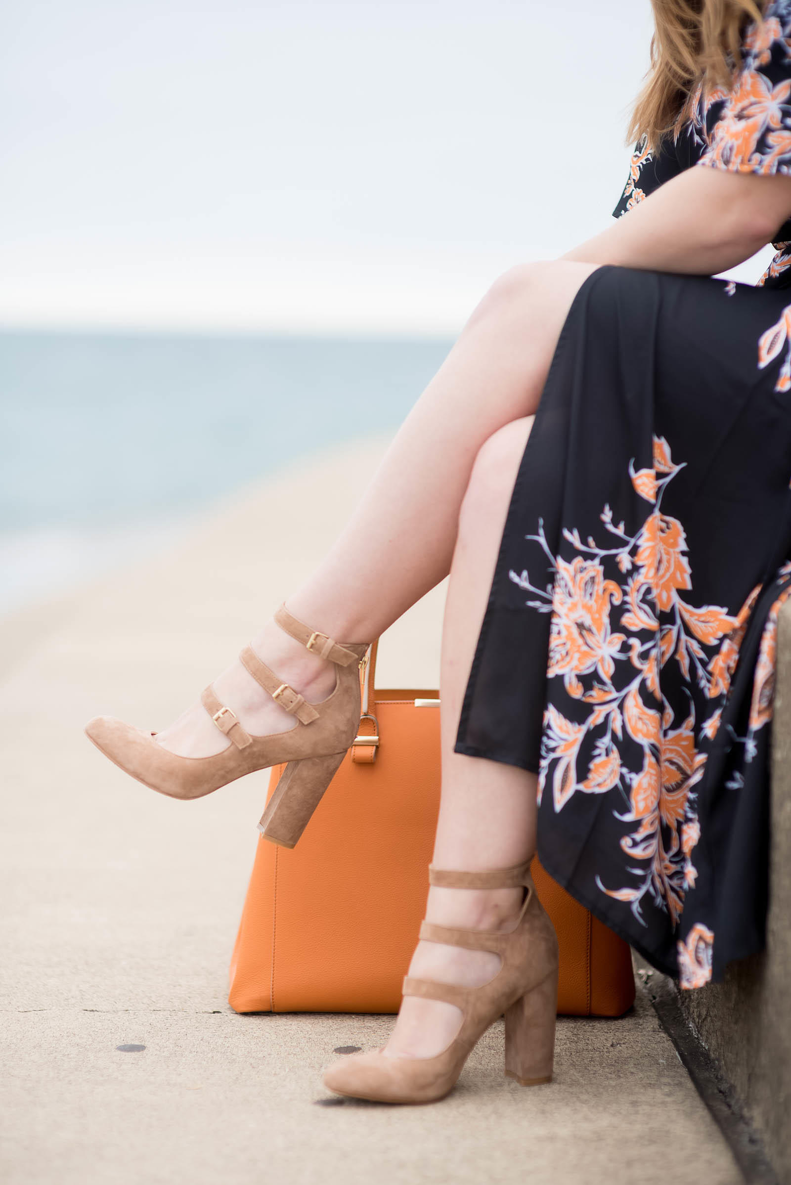 Orange Black Floral Kimono Dress Outfit