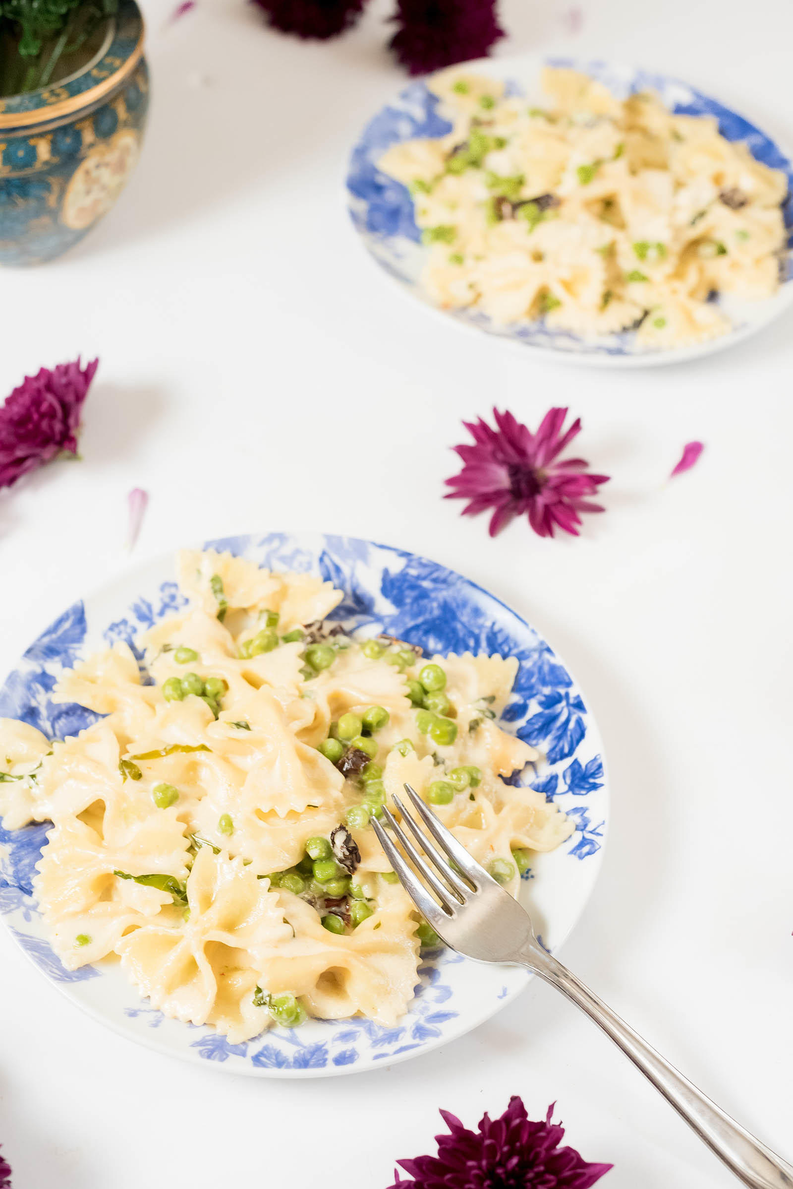 Goat Cheese Alfredo Pea Bow Tie Pasta Recipe