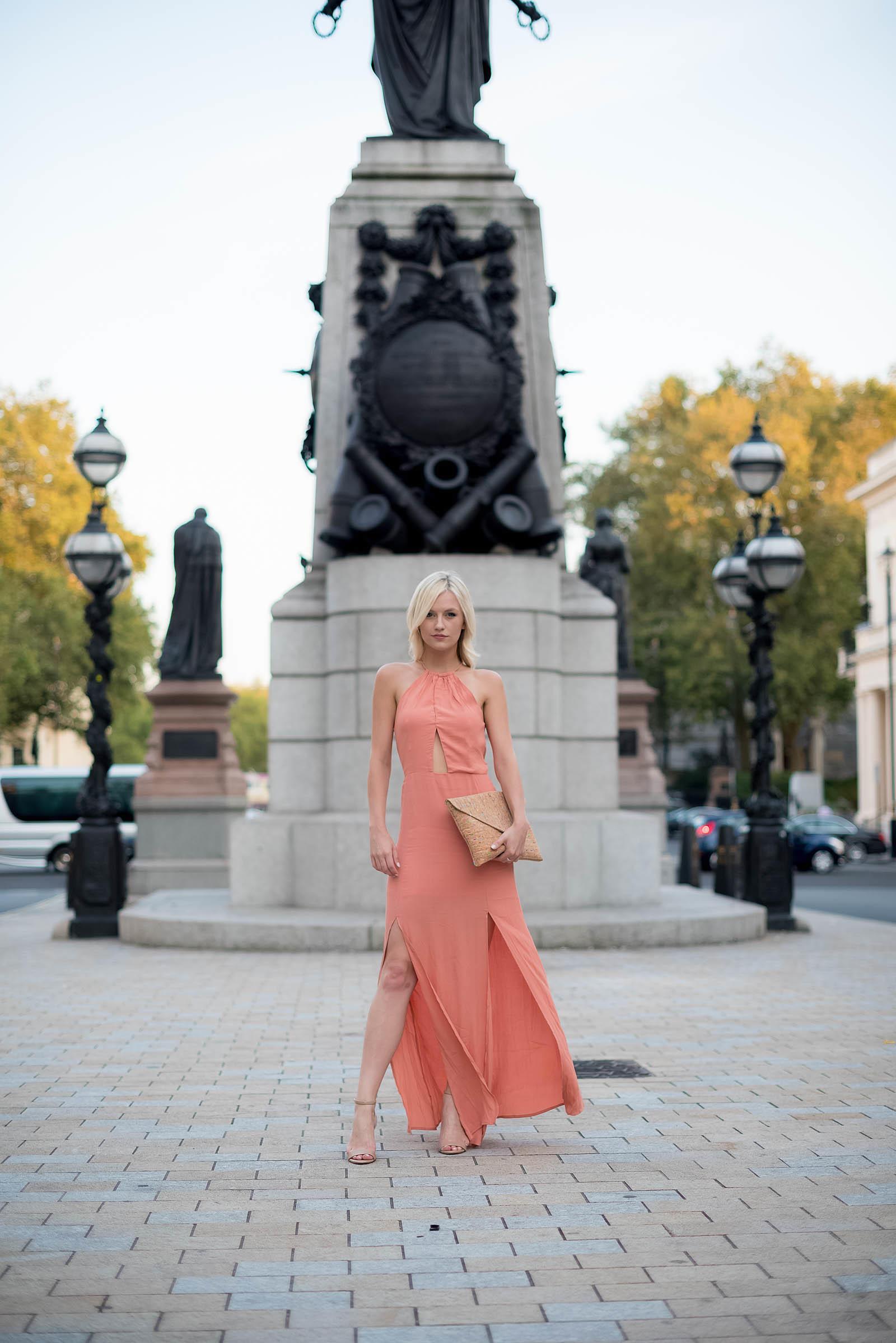 London Style Inspiration Pink Maxi Dress
