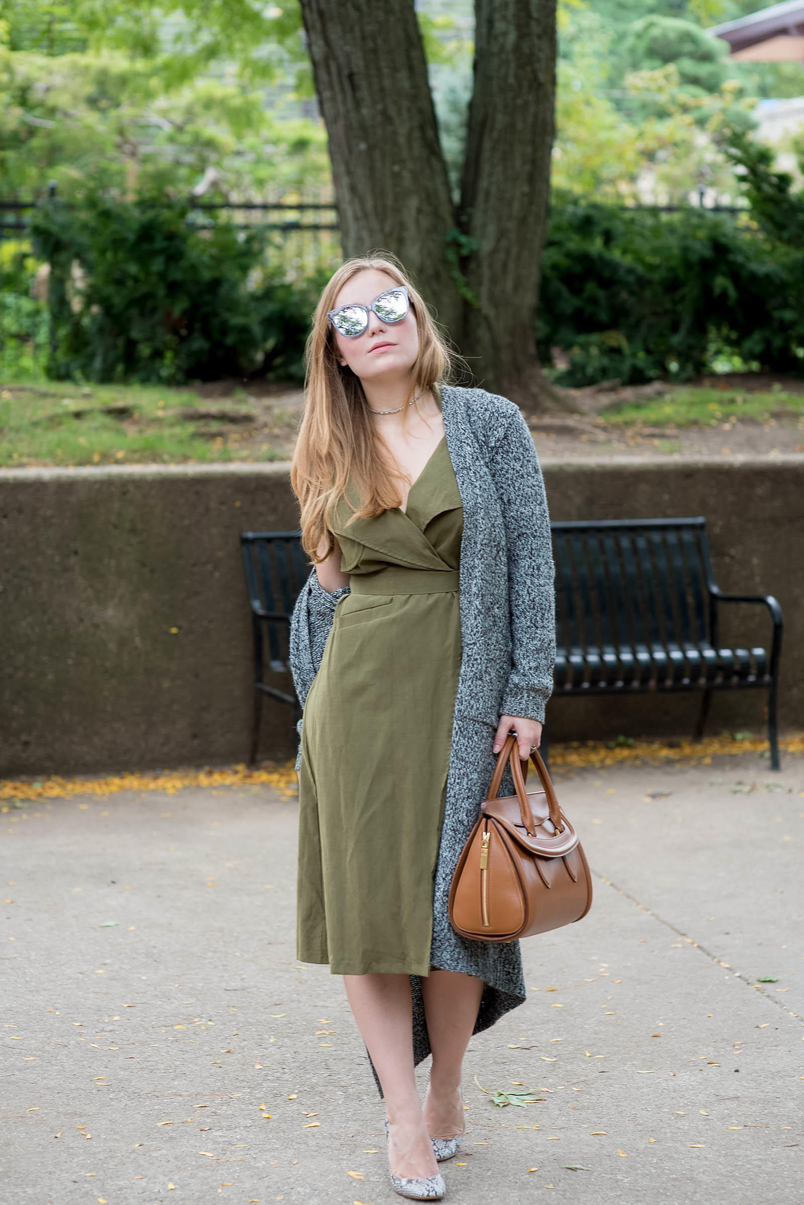 Khaki Python Tan Knit Fall Outfit