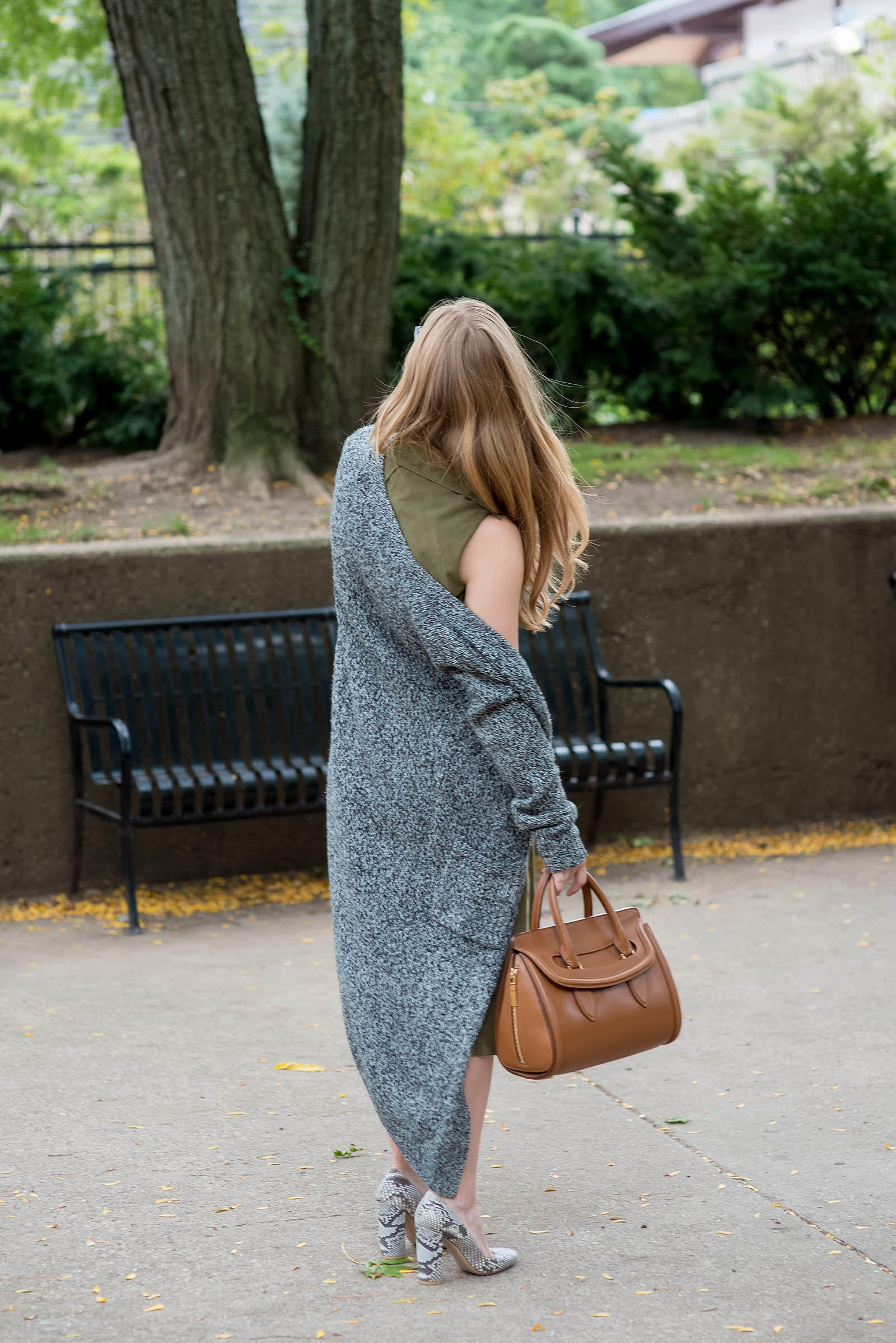 Khaki Python Tan Knit Fall Outfit