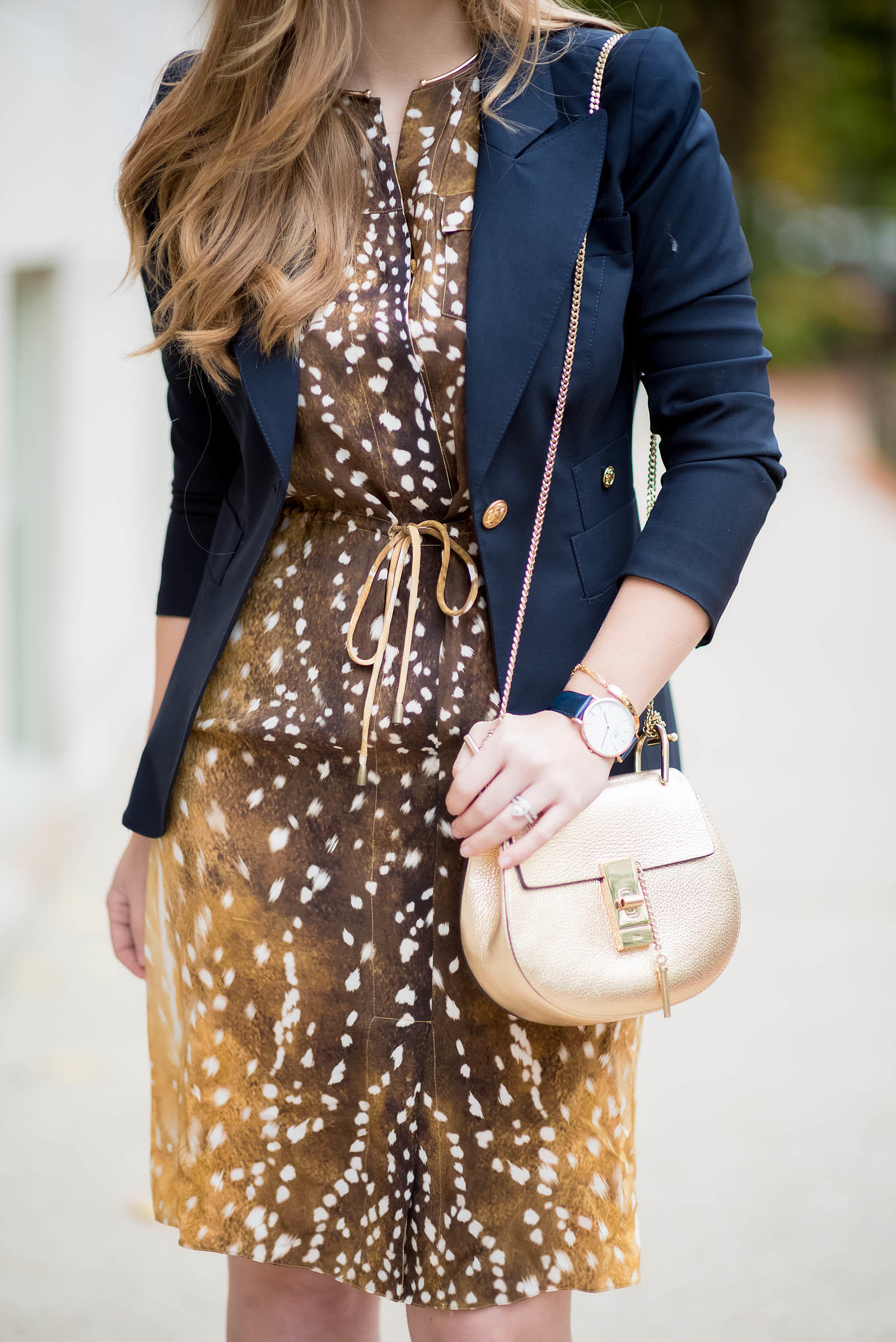 Navy Office Fall Style Print Mixing