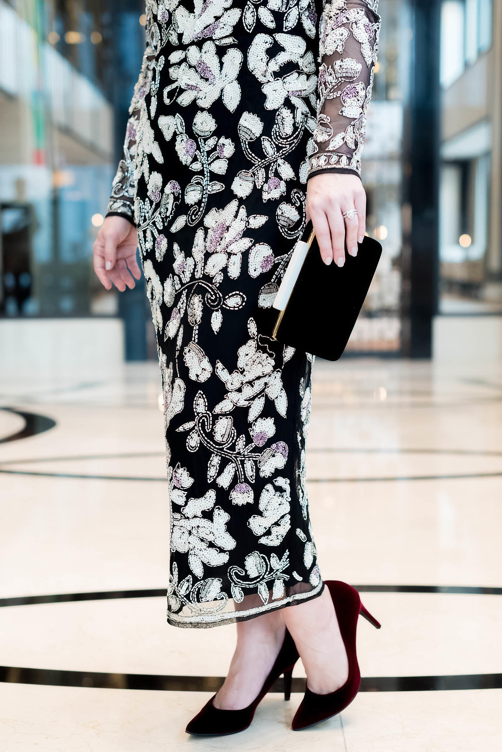 Asos Sequin Floral Midi Dress Holiday Style