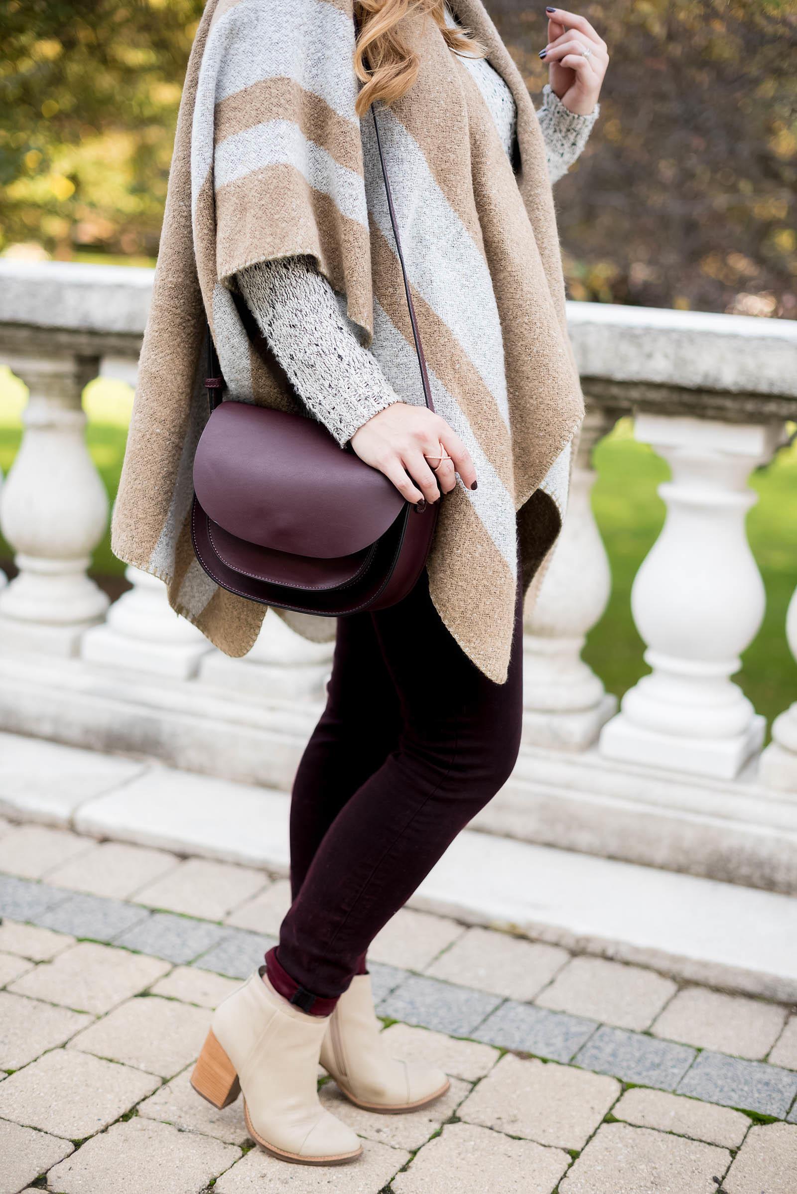 Fall Ruana Poncho Outfit Burgundy Tan