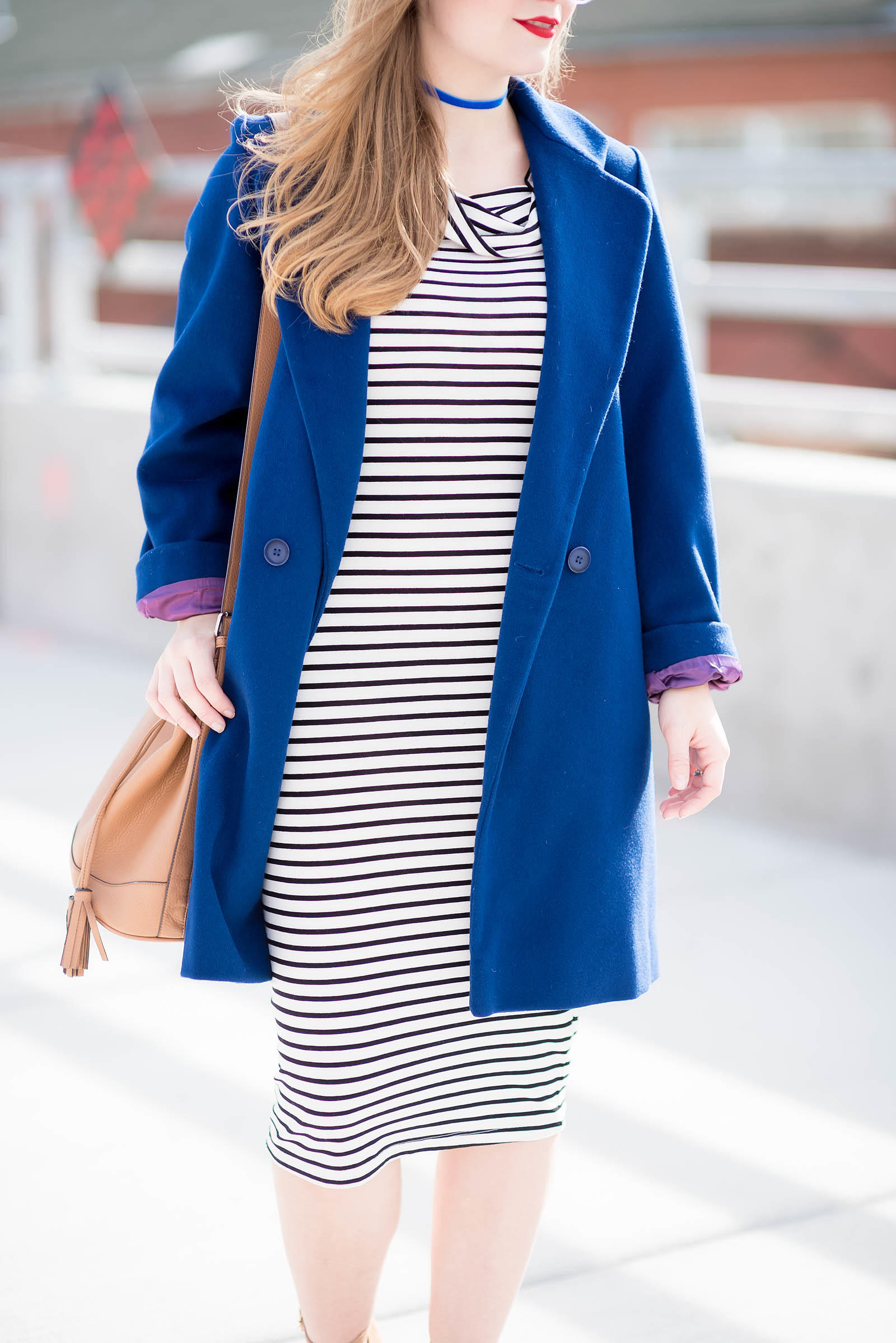 Cobalt Coat Striped Dress Steve Madden