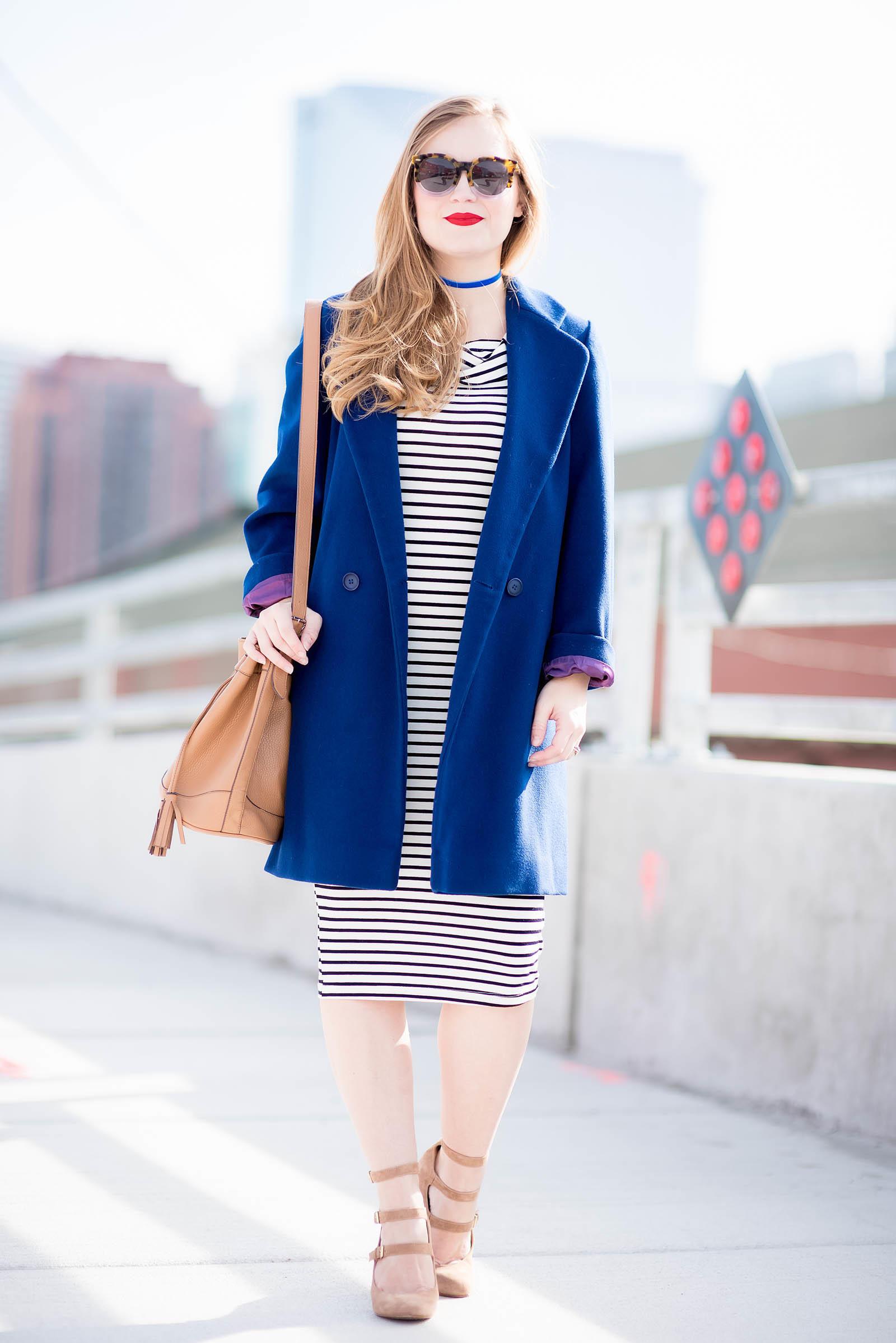 Cobalt Coat Striped Dress Steve Madden