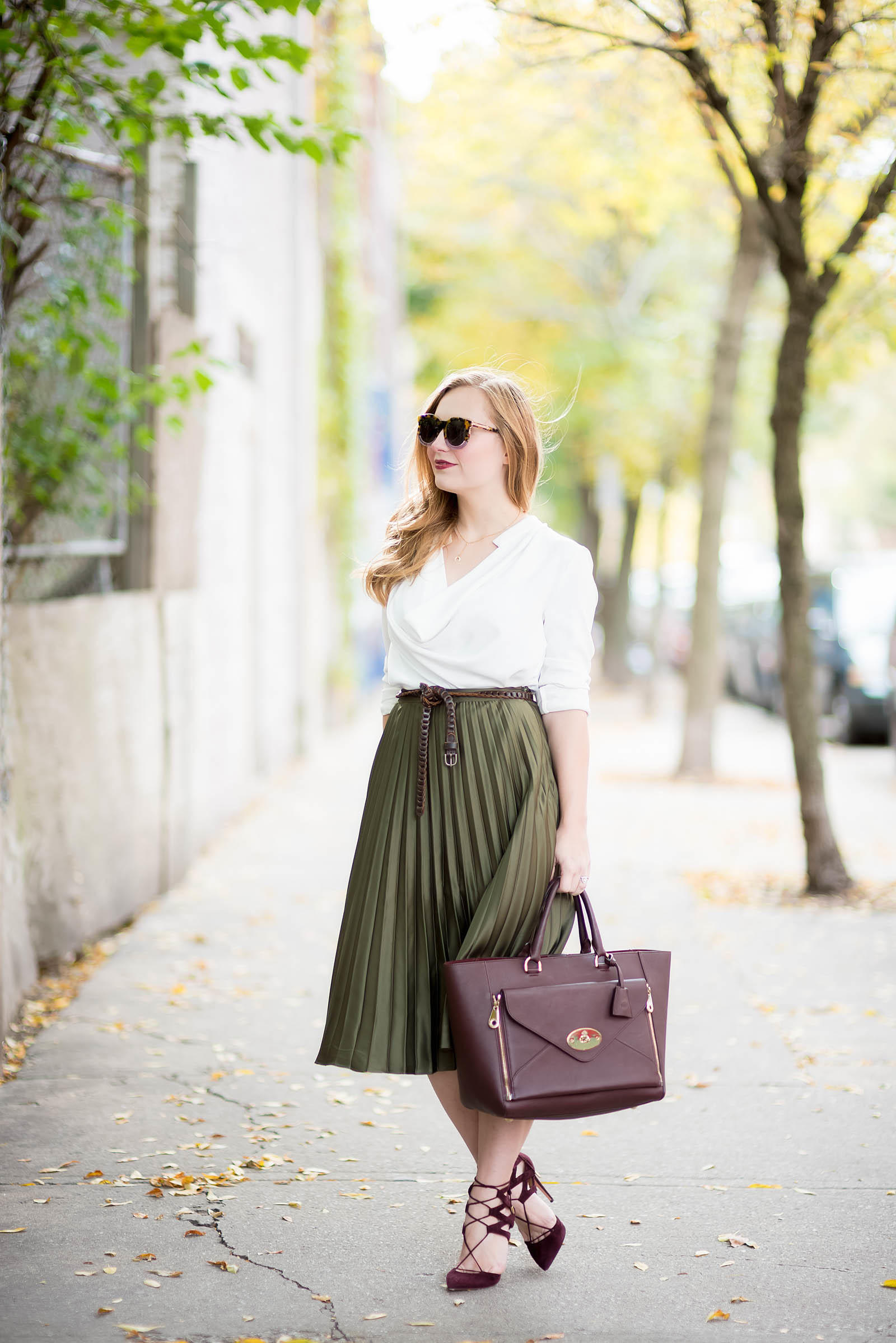 Green Oxblood Fall Pleated Skirt Outfit