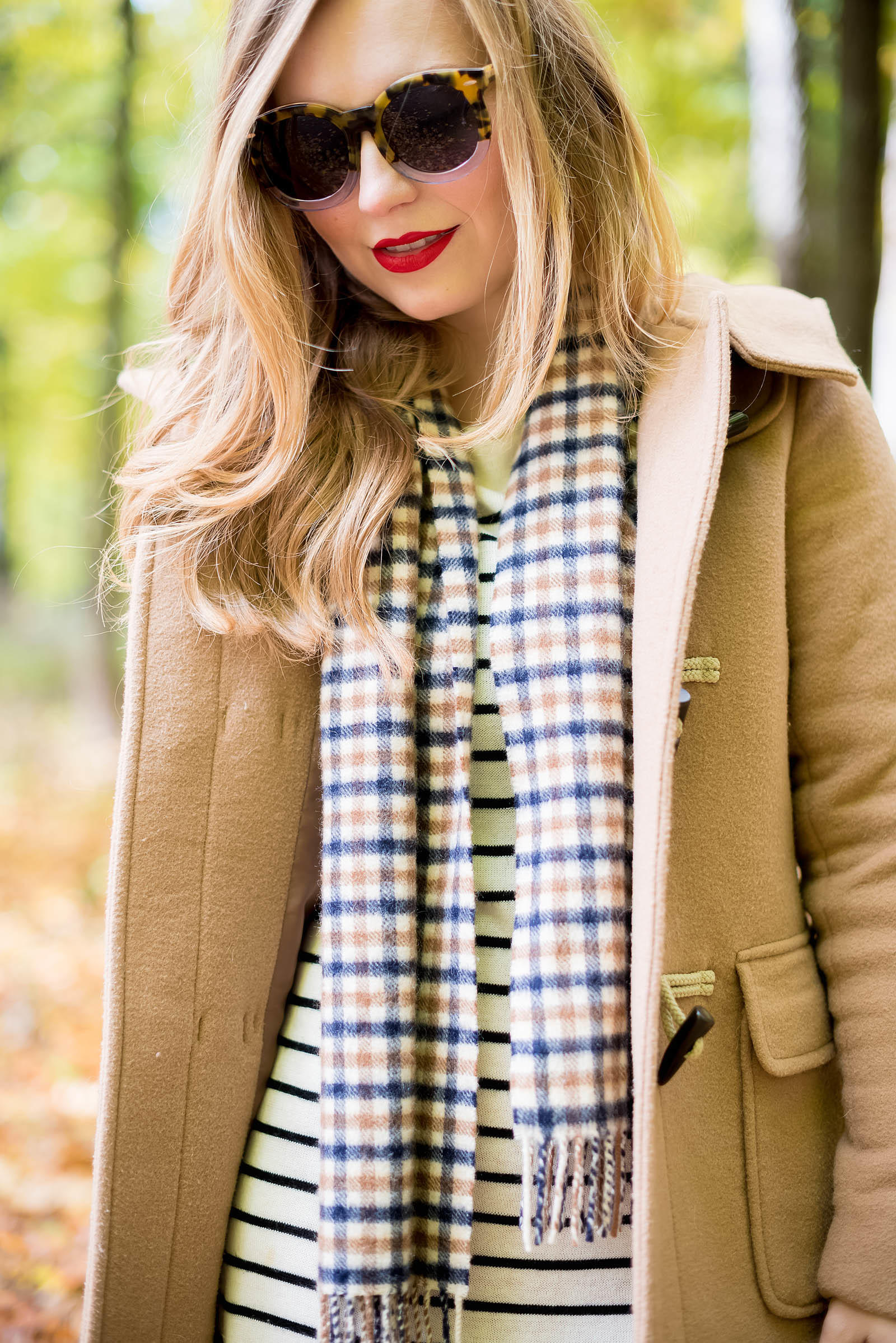 Fall Plaid Stripe Sweater Outfit
