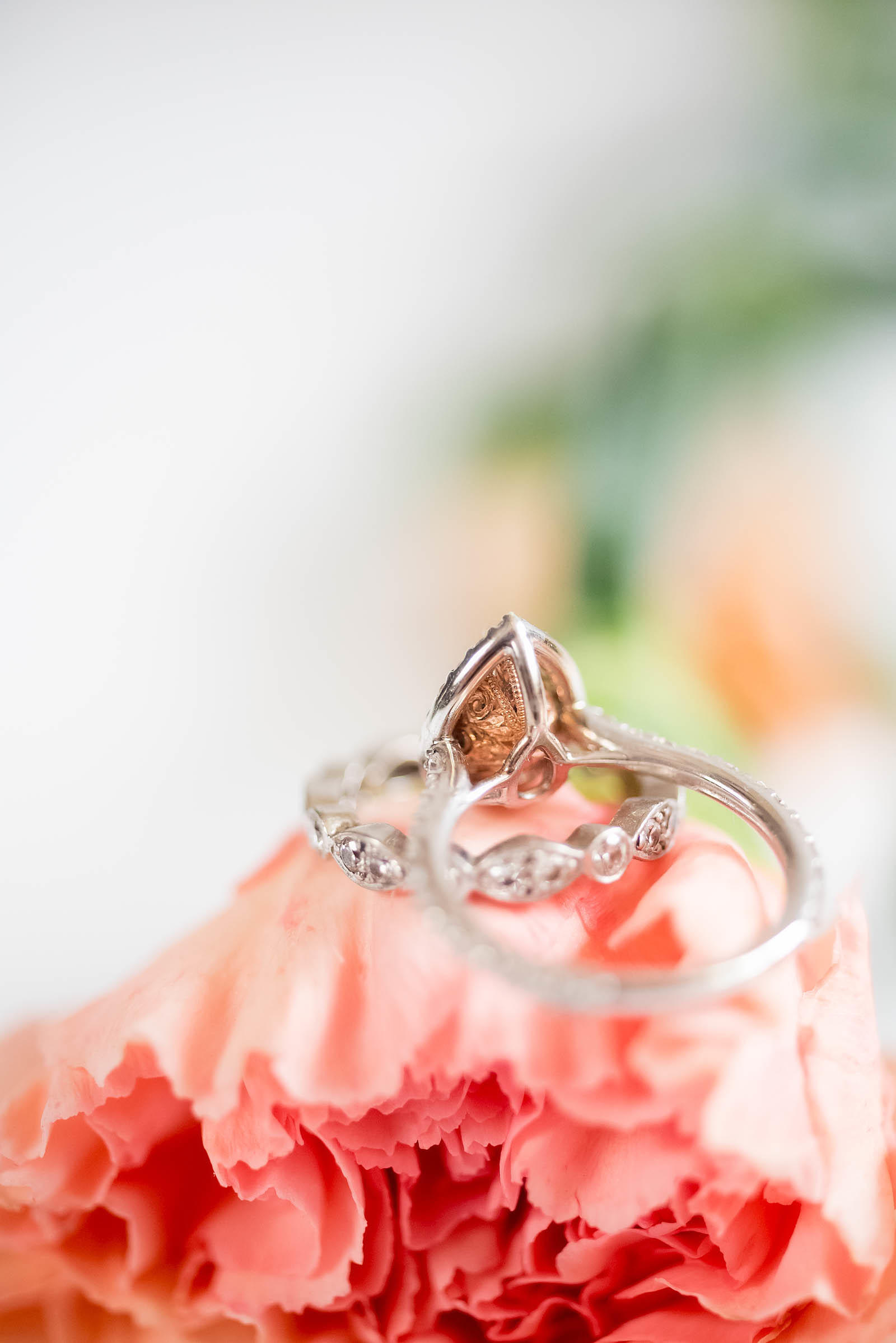 Pink Brown Diamond Pear Engagement Ring with Rose Gold