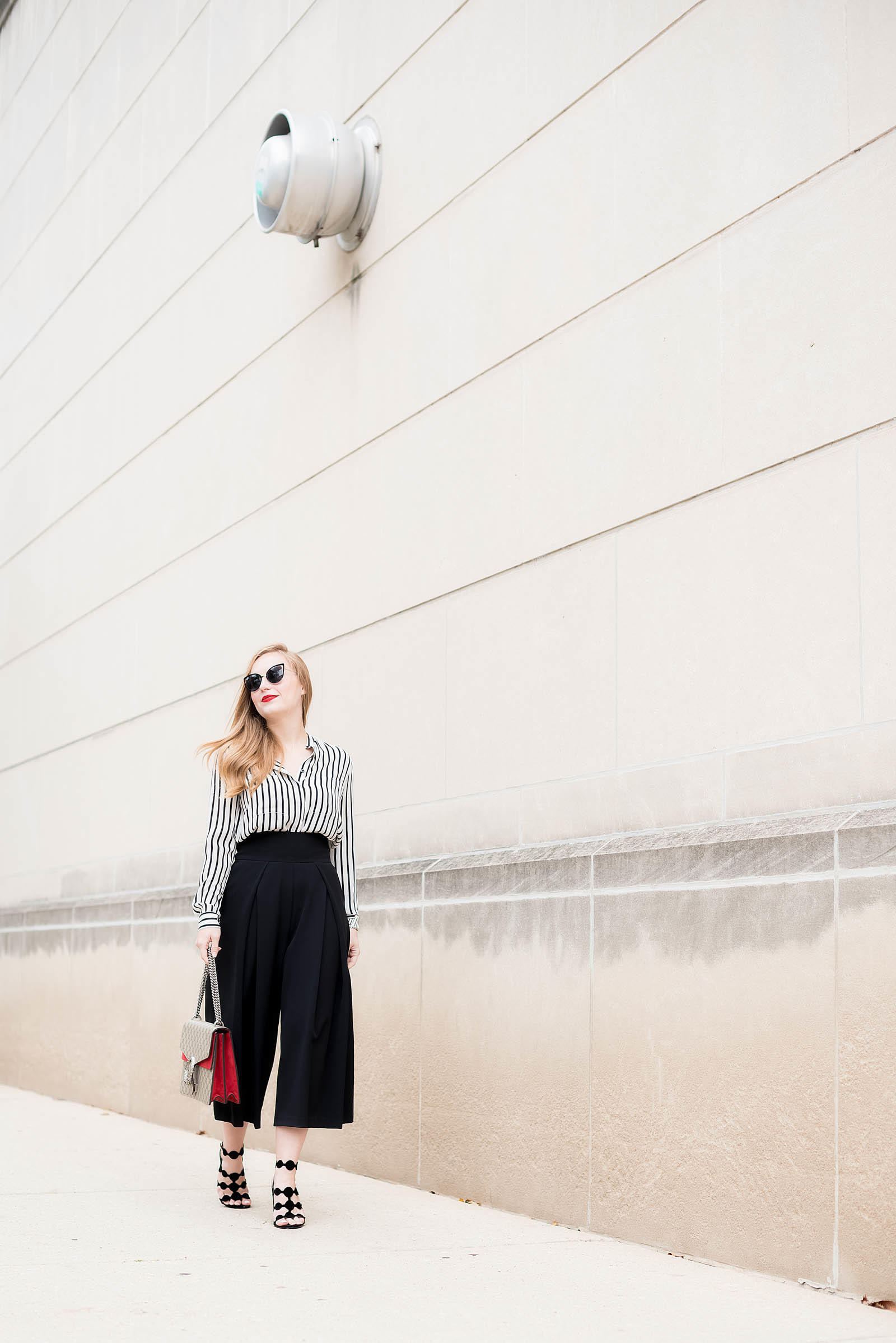 1940s Style Culotte Black White Red Outfit Inspiration