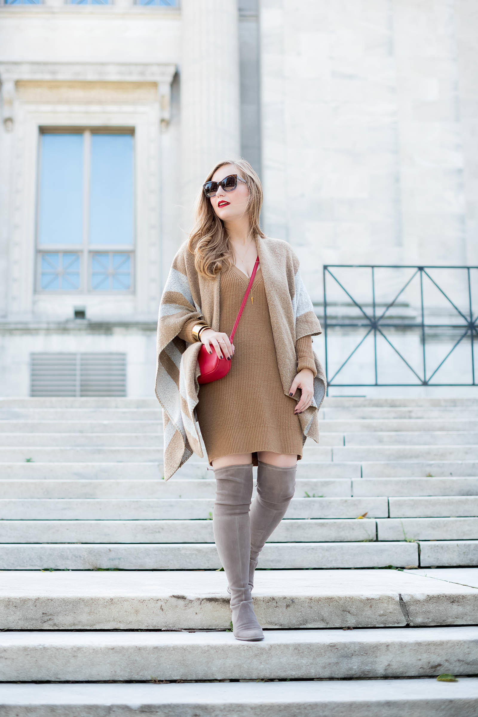 Gray Tan Red Over the Knee Boot Fall Outfit Ruana